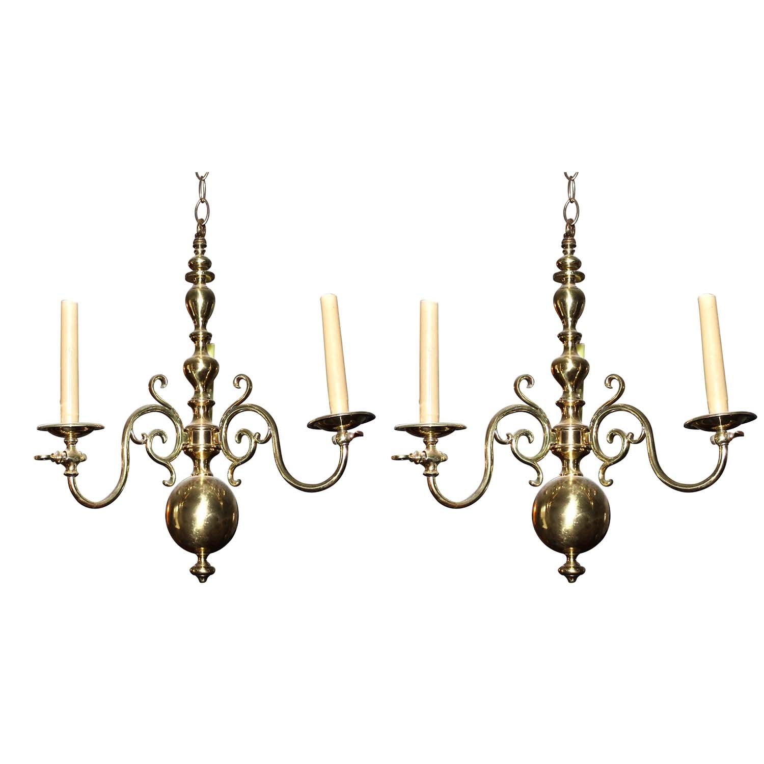 Federal Style Brass Gas Chandeliers, Early 20th Century