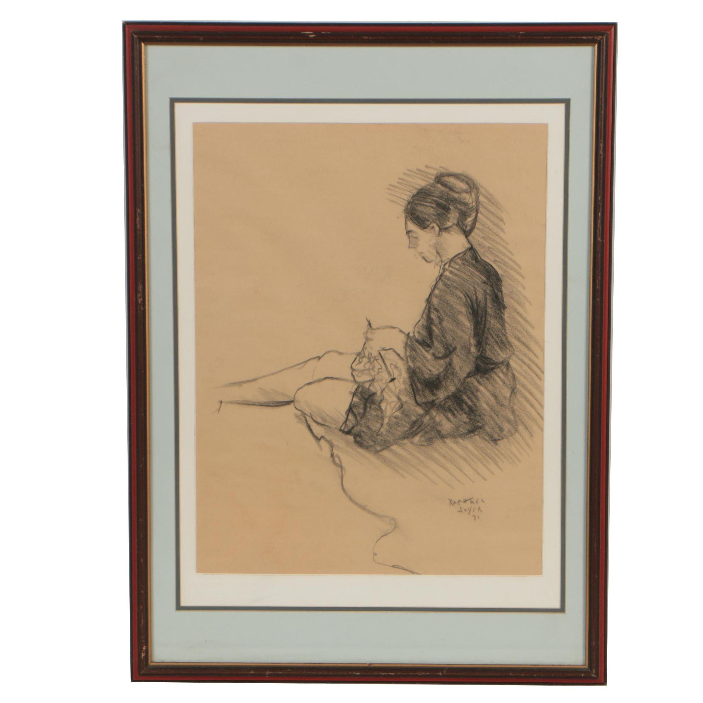 Raphael Soyer Charcoal Figure Study