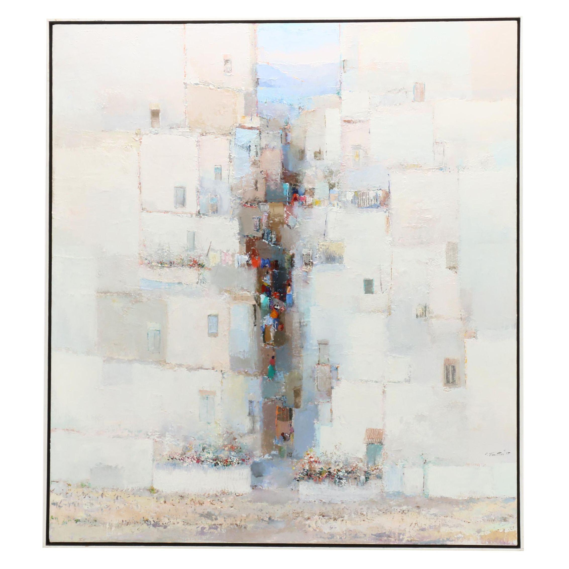 "Oswaldo Ventura Abstract Oil Painting of Village Scene ""XI"""