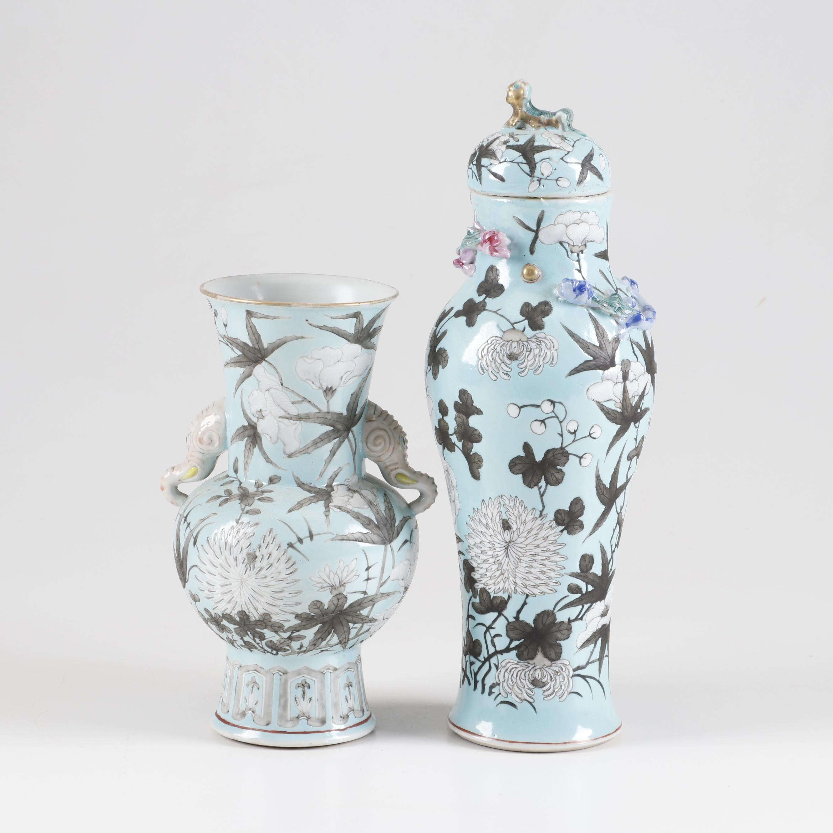 East Asian Hand-Painted Ceramic Vase and Lidded Jar