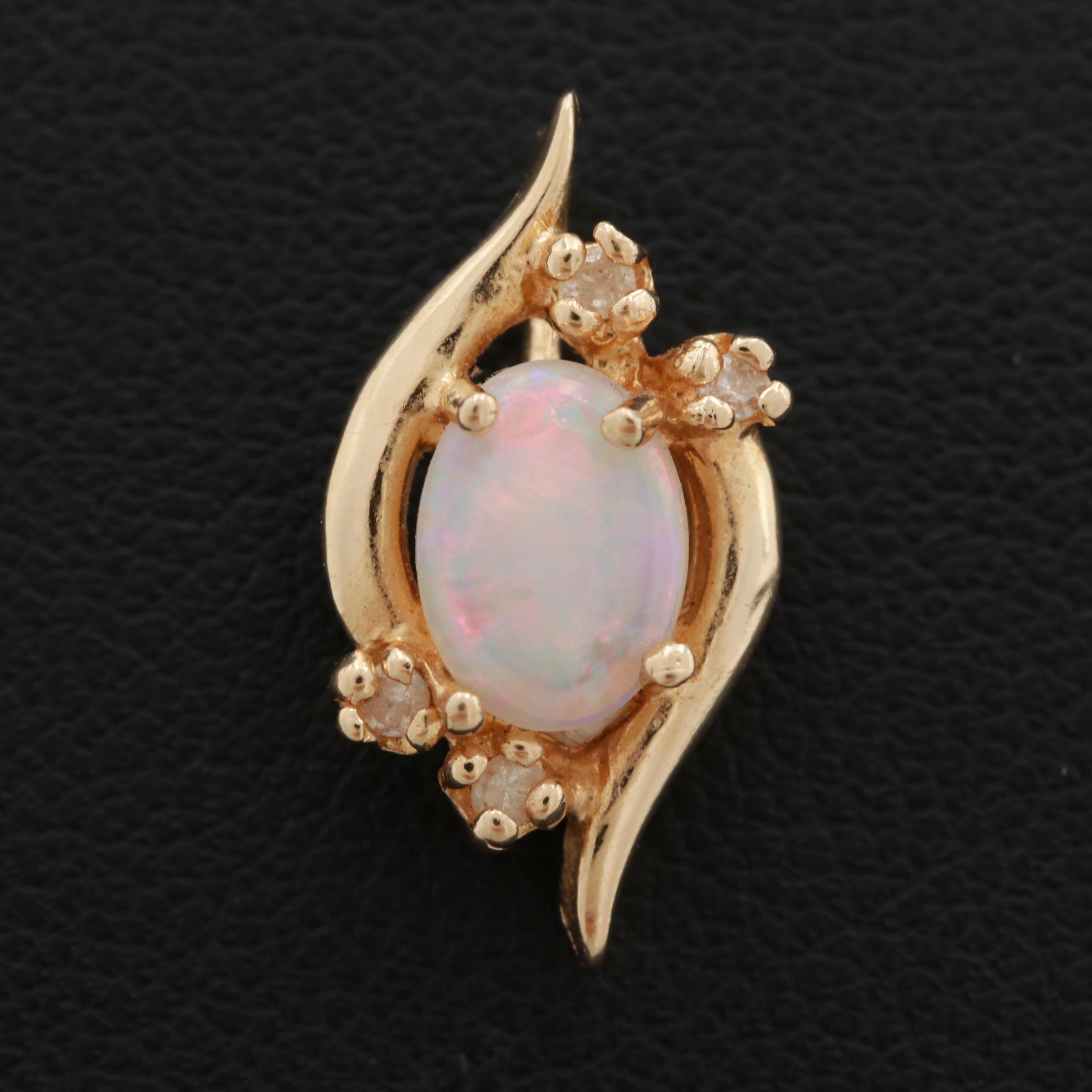 14K Yellow Gold Diamond and Opal Pendant