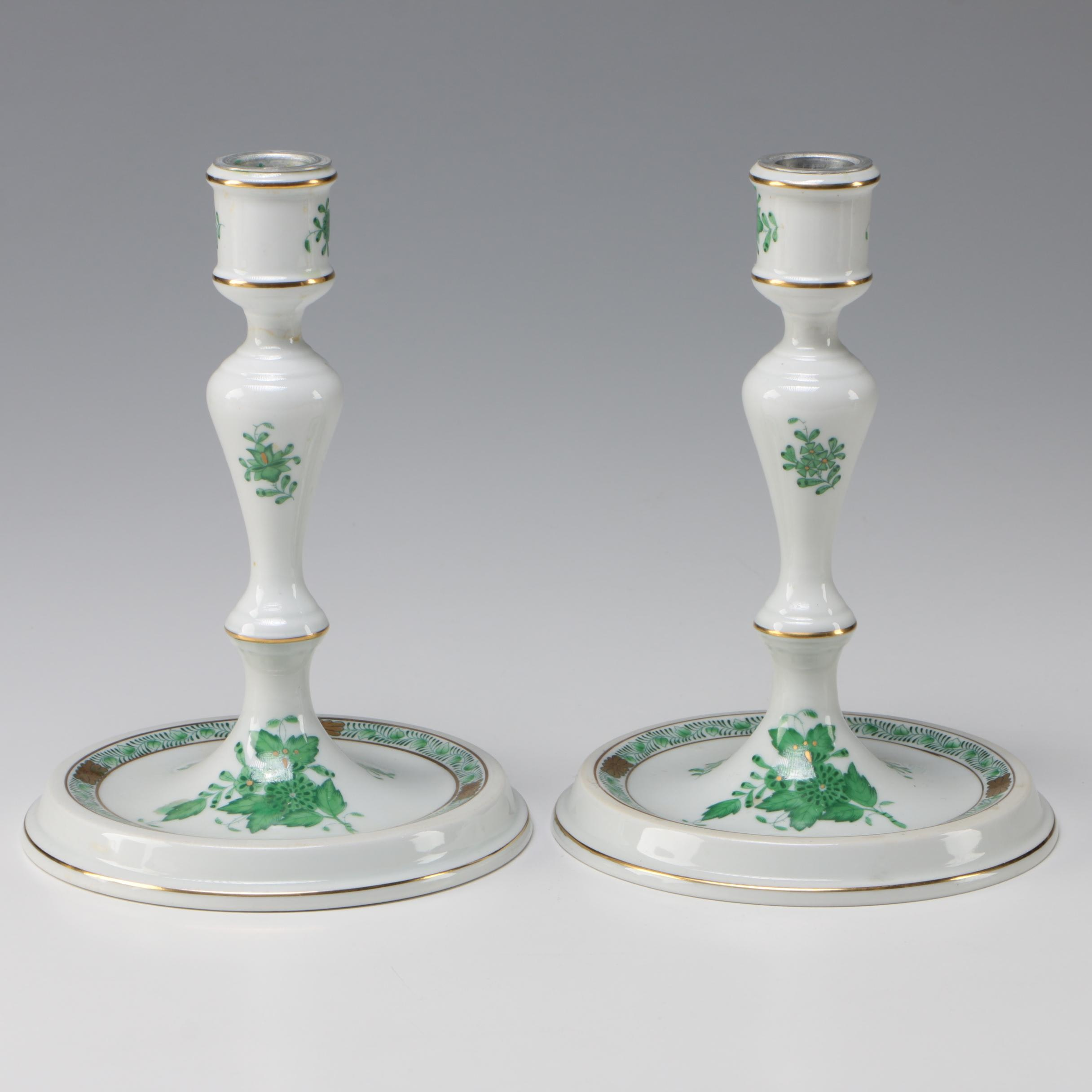 """Herend """"Chinese Bouquet"""" Porcelain Candlesticks, 1915–1930"""