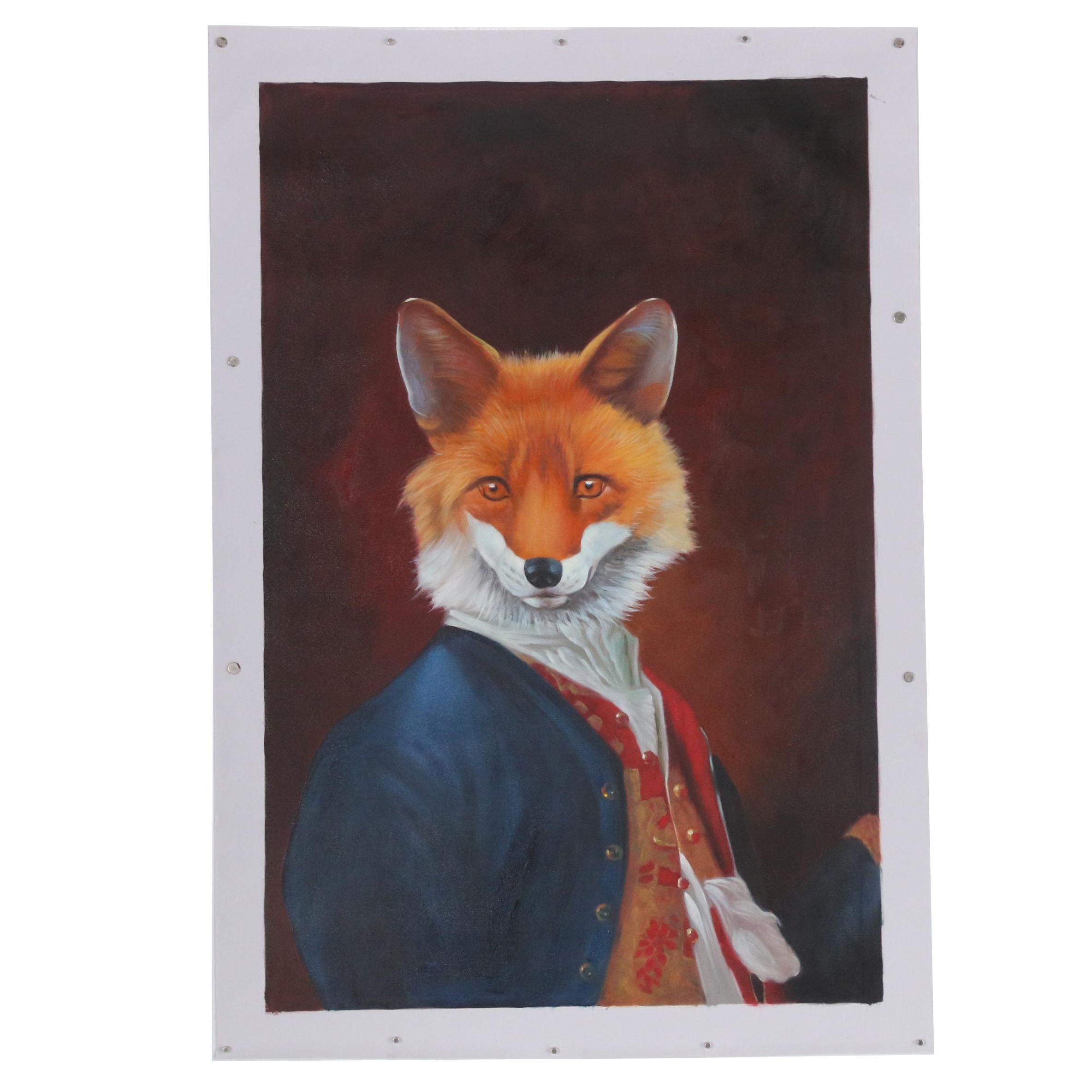 Anthropomorphic Fox Oil Painting