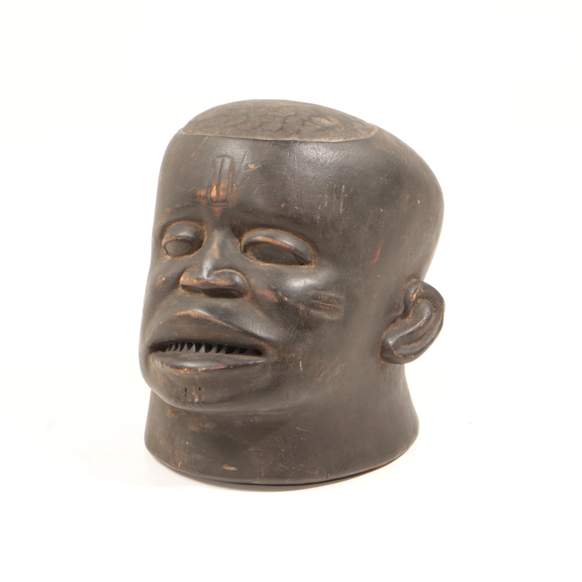 Makonde Carved Wooden Lipiko Helmet Mask
