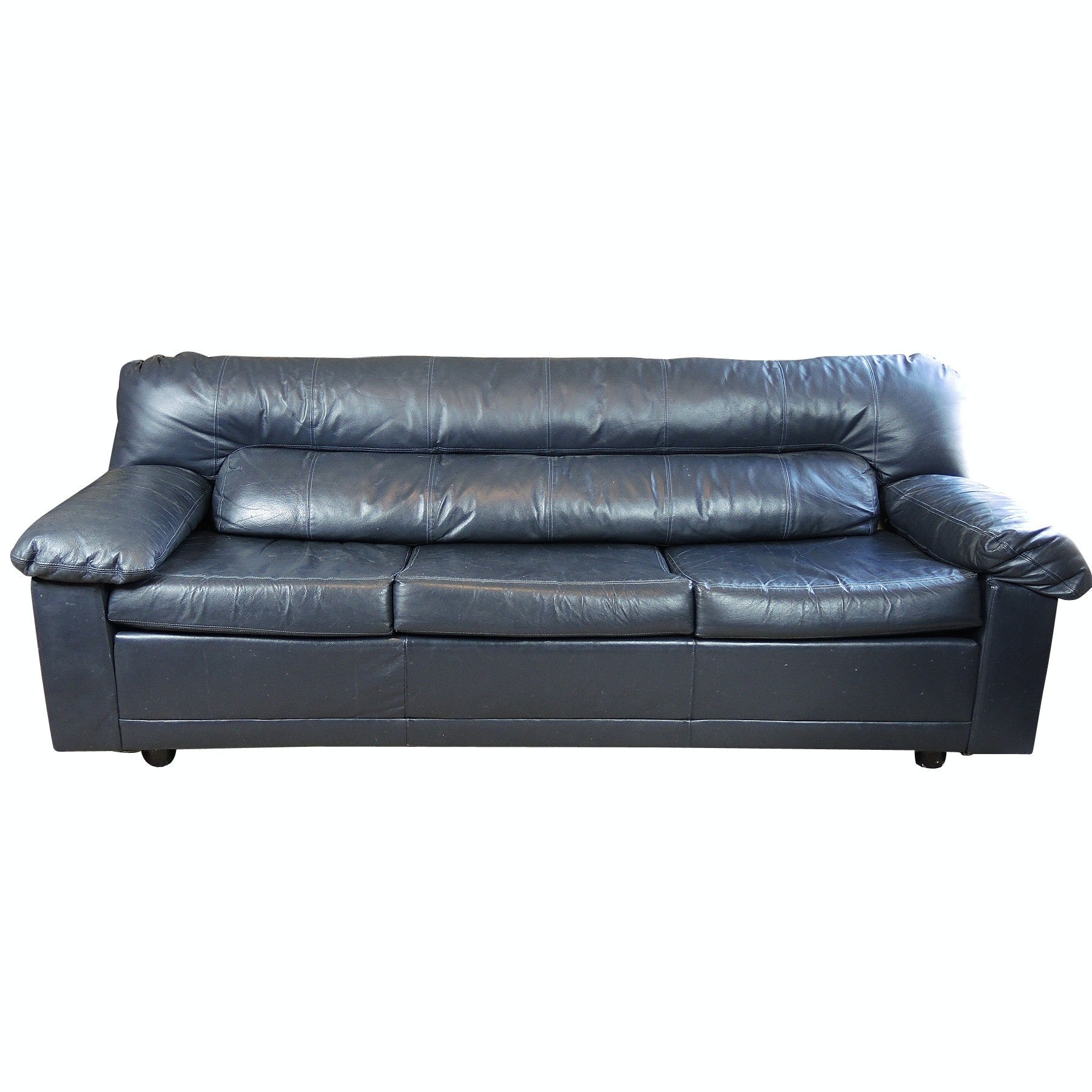 Hickory International Leather Navy Sleeper Sofa