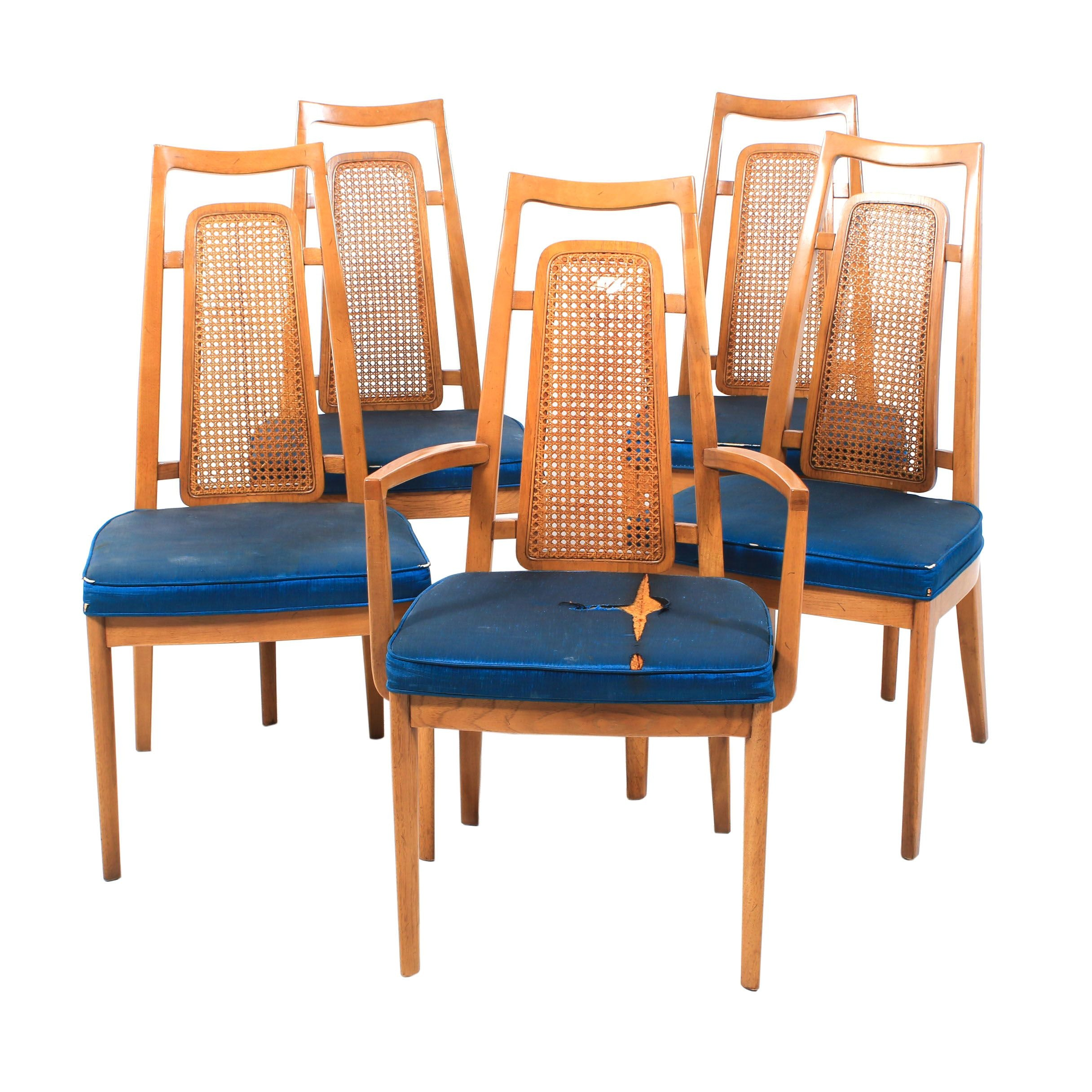 Drexel Mid Century Modern Cane Back Dining Chairs, Vintage