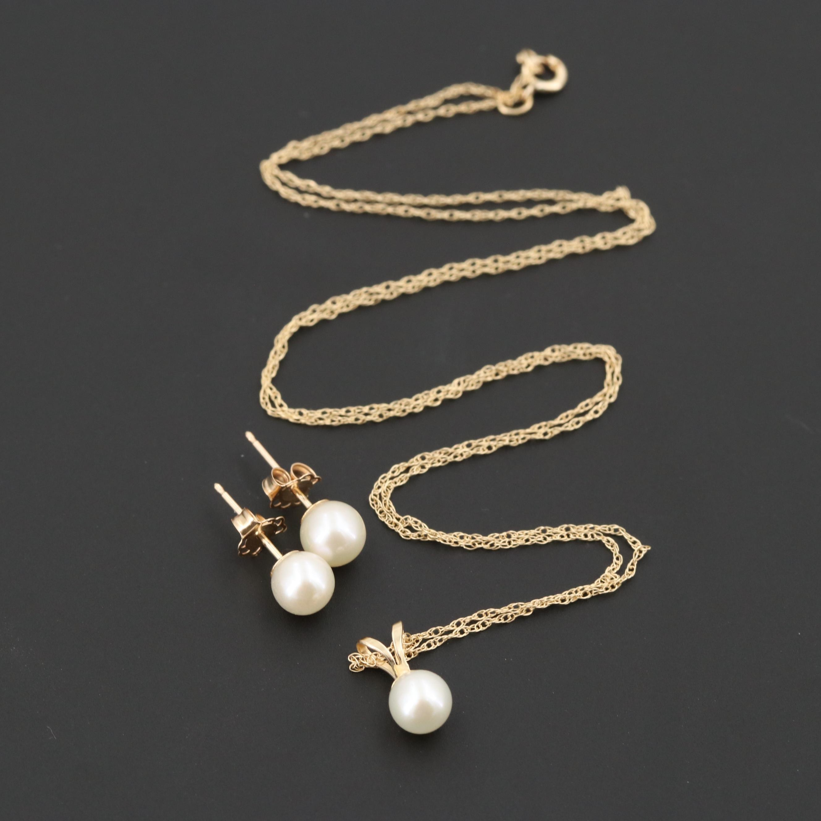 10K Yellow Gold Cultured Pearl Pendant Necklace and Earrings Set