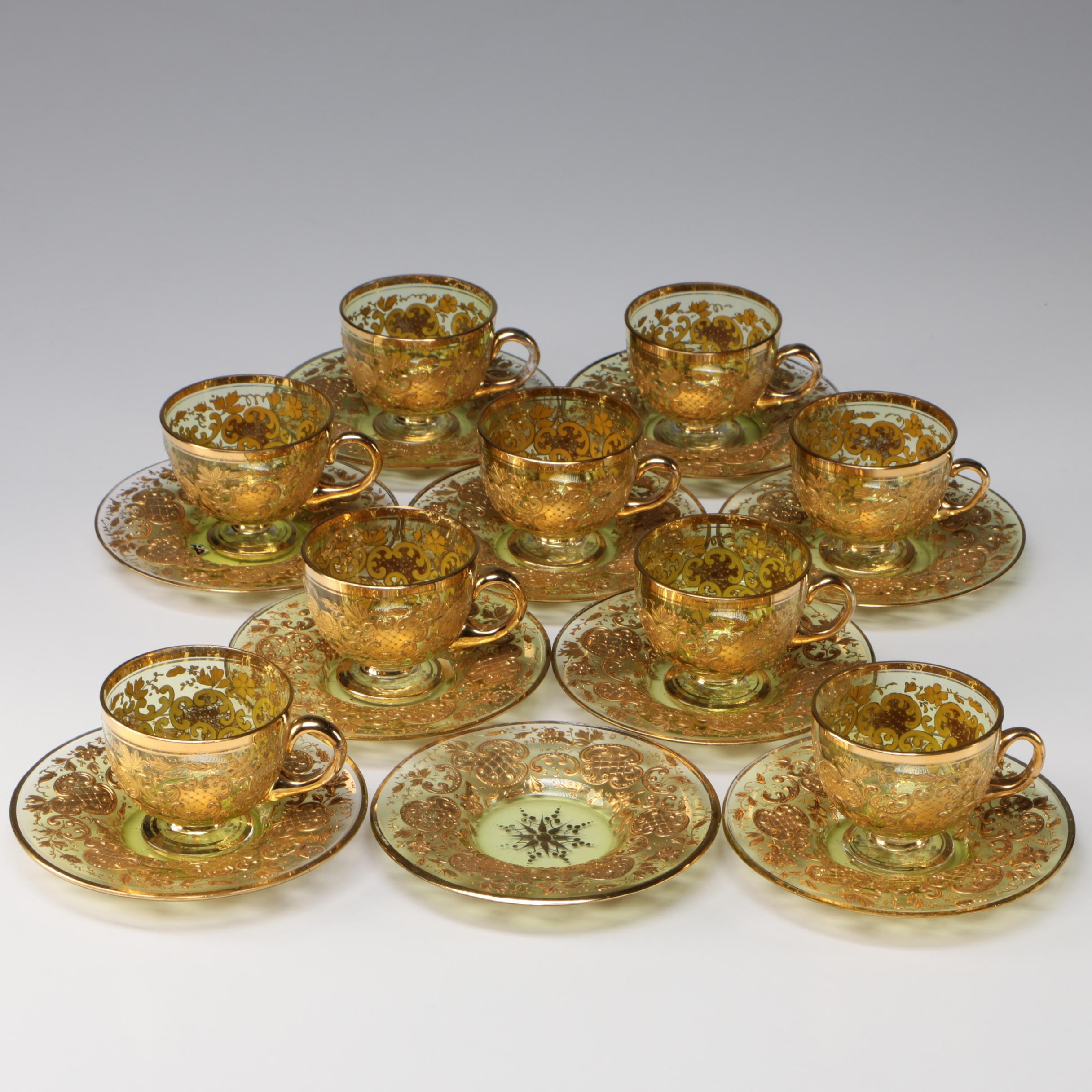 Gilt Encrusted Glass Teacups and Saucers, Early/Mid 20th Century