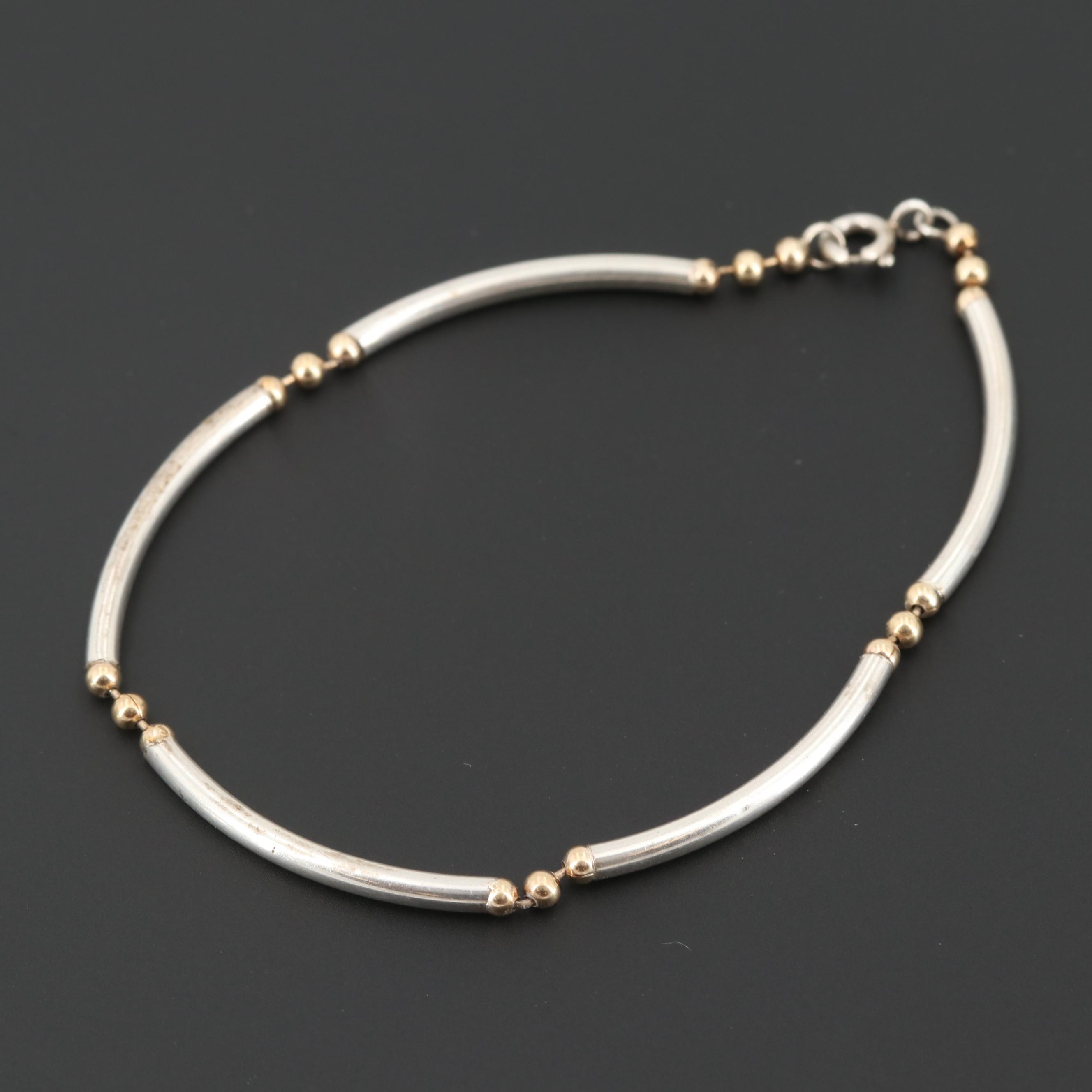 Sterling Silver Bracelet with Gold Wash Accents