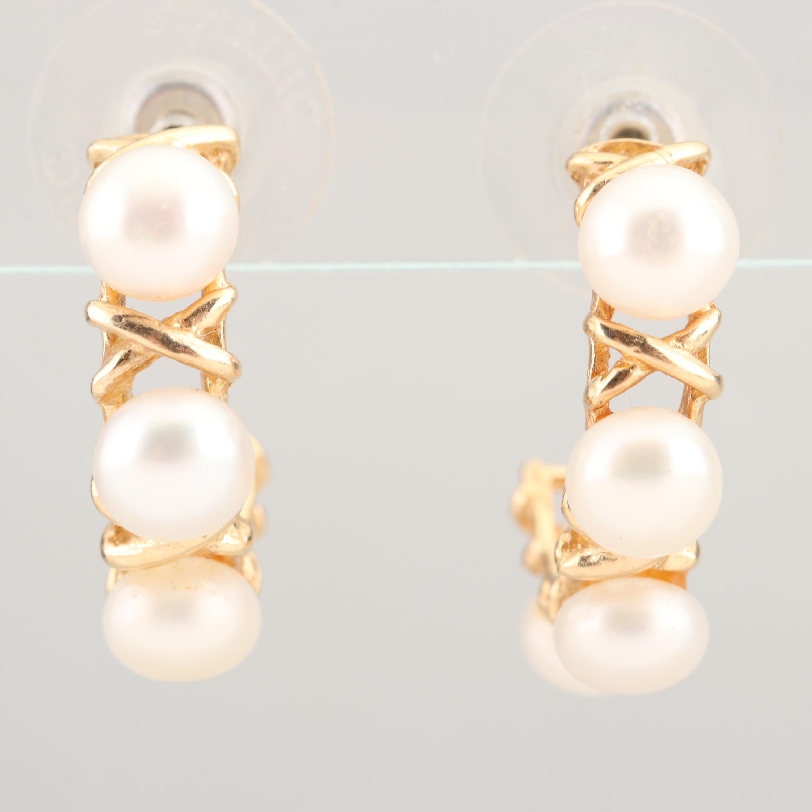 14K Yellow Gold Freshwater Cultured Pearl Earrings