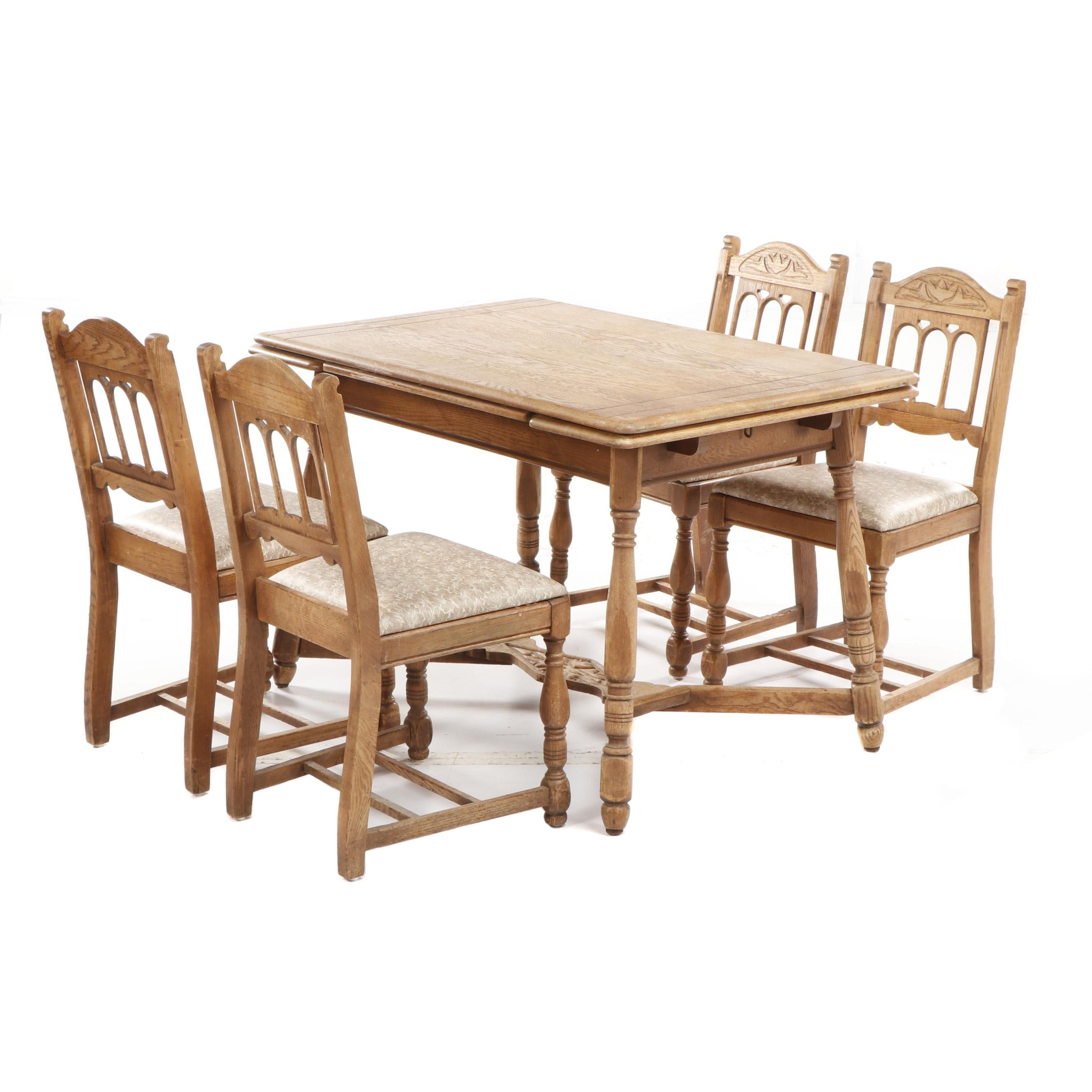 Mid Century Constitution Oak Furniture Jacobean Style Dining Set