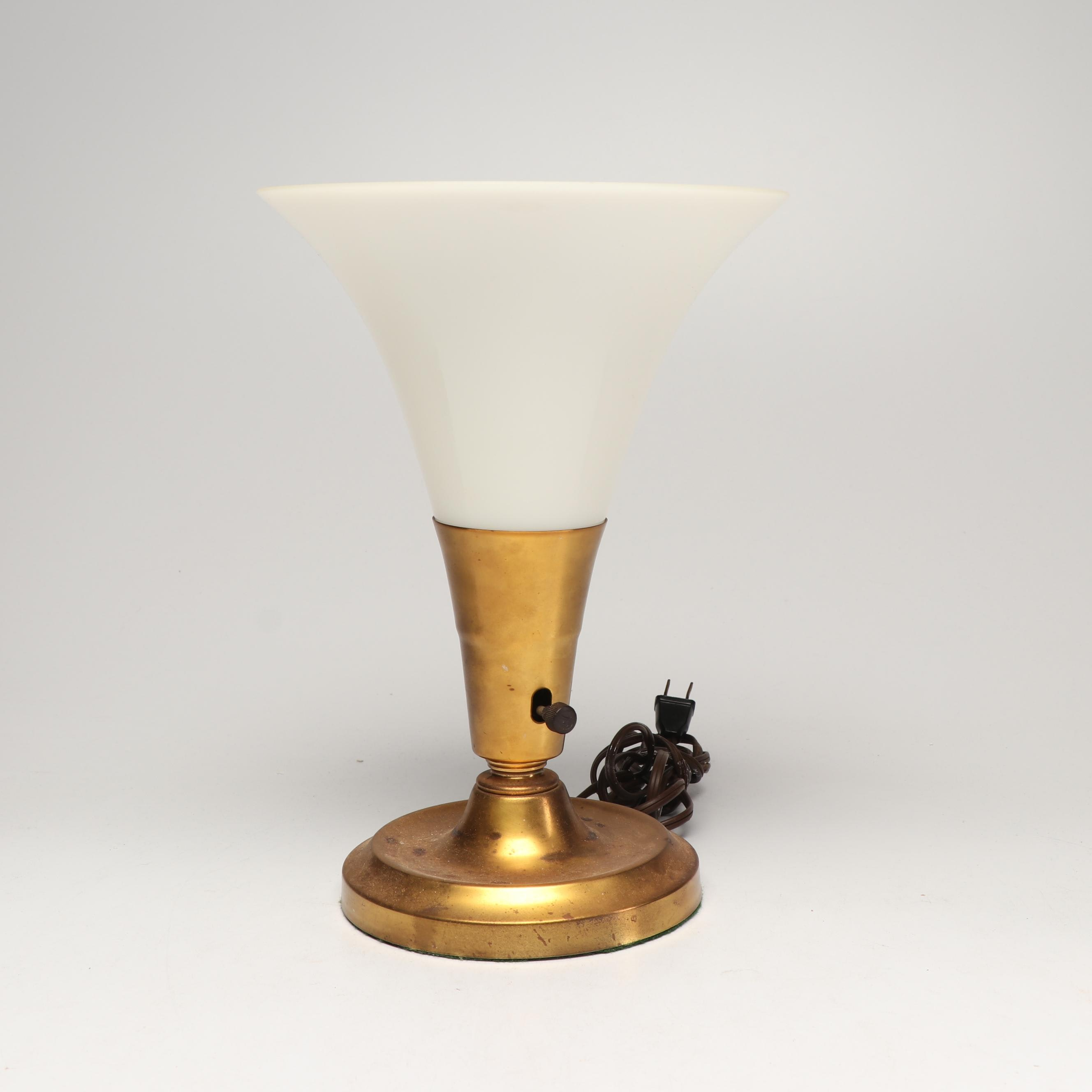 Brass and Milk Glass Torchette Table Lamp, Mid-Century