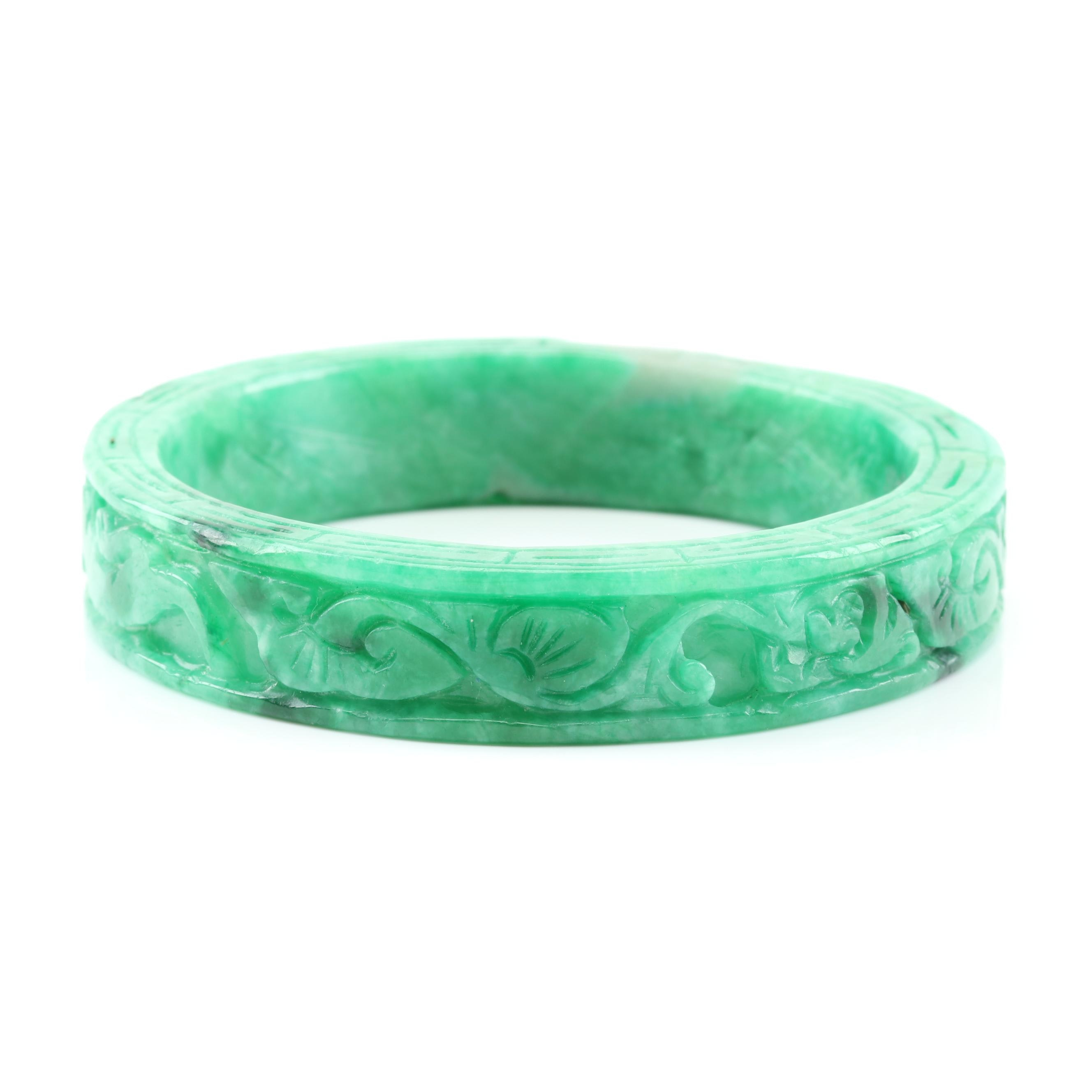 Carved Jadeite Bangle Bracelet.