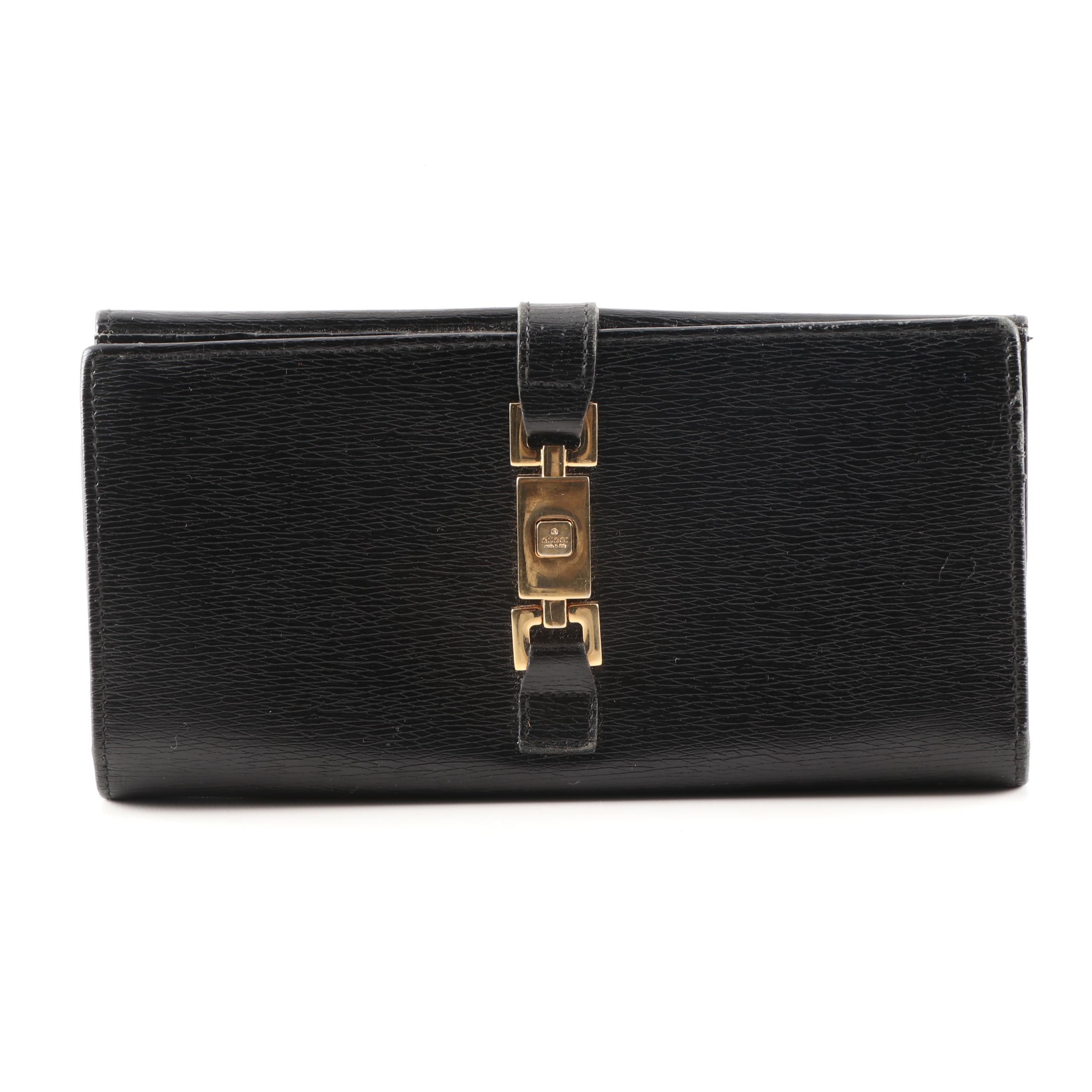 Gucci Piston Lock Black Textured Leather Wallet