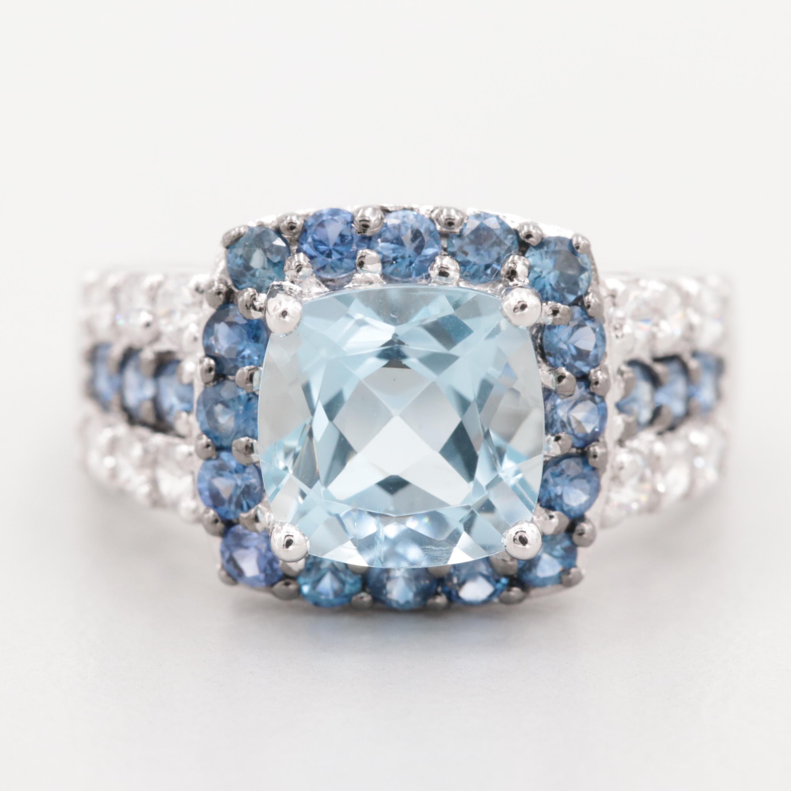 10K White Gold Aquamarine Blue Sapphire and Cubic Zirconia Ring