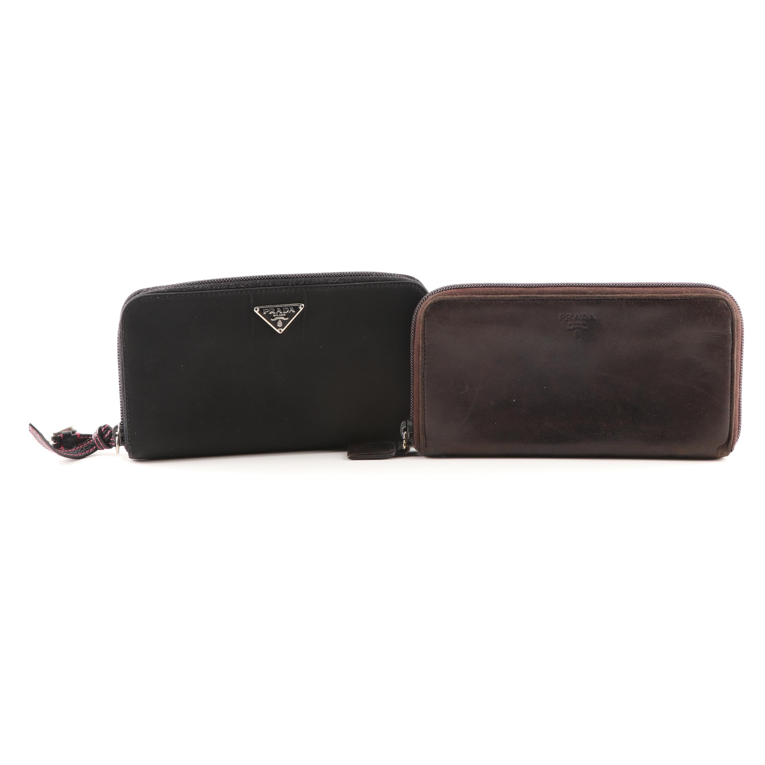 Prada Leather and Nylon Zip-Around Wallets