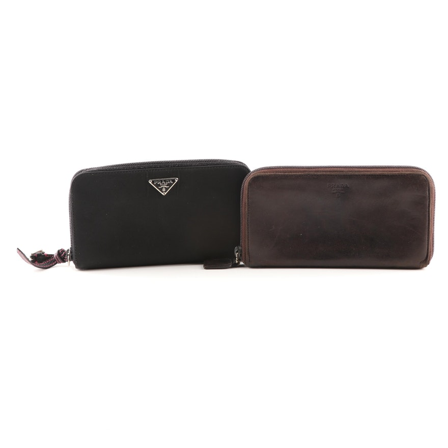 c9c5df04accd6b Prada Leather and Nylon Zip-Around Wallets | EBTH
