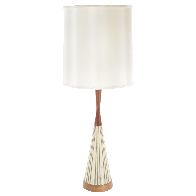 Mid-Century Modern Teak and Ceramic Table Lamp