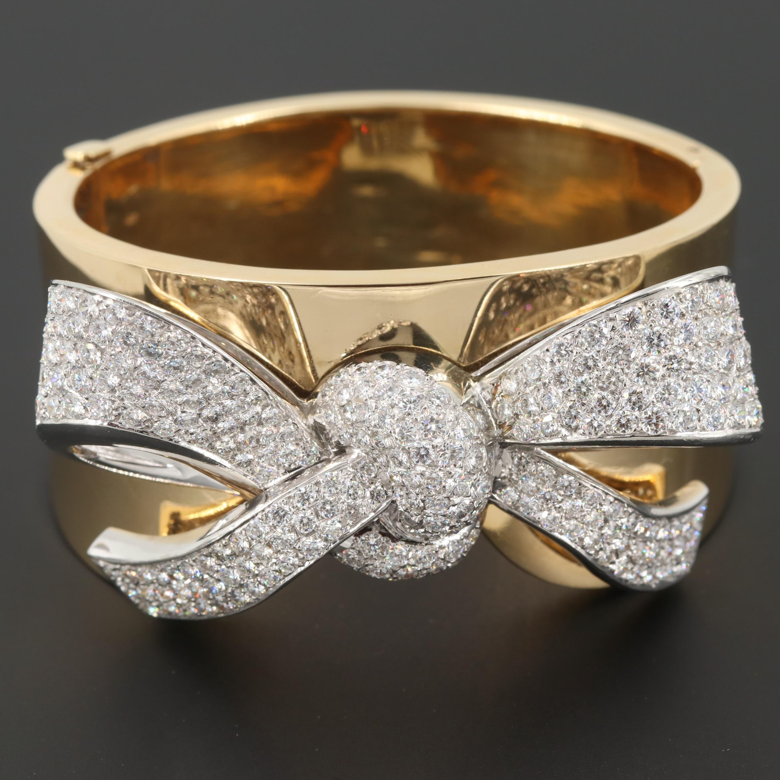 18K Yellow Gold 7.03 CTW Diamond Bow Wide Bangle Bracelet