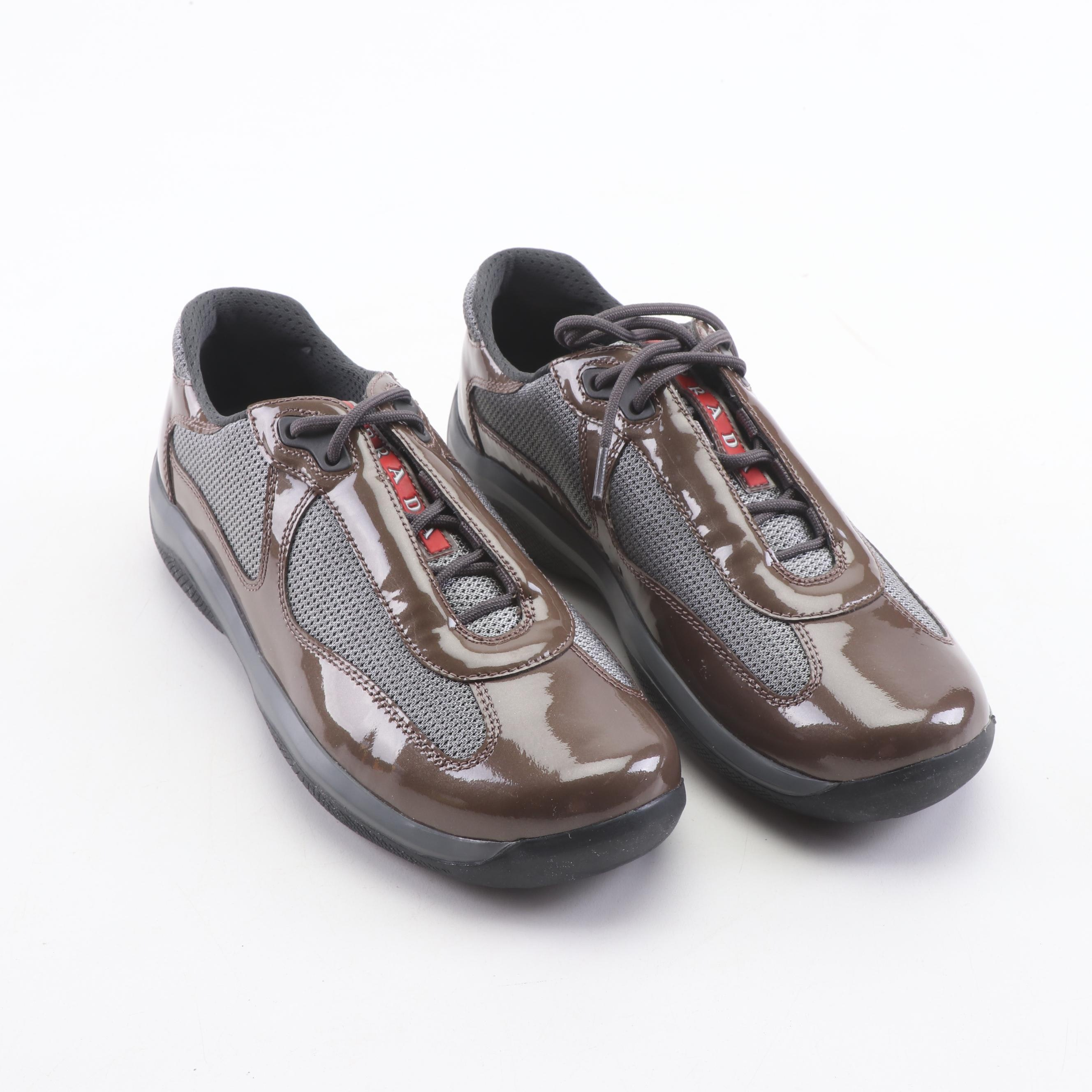 Women's Prada Calzature Donna Mesh and Patent Leather Fashion Sneakers