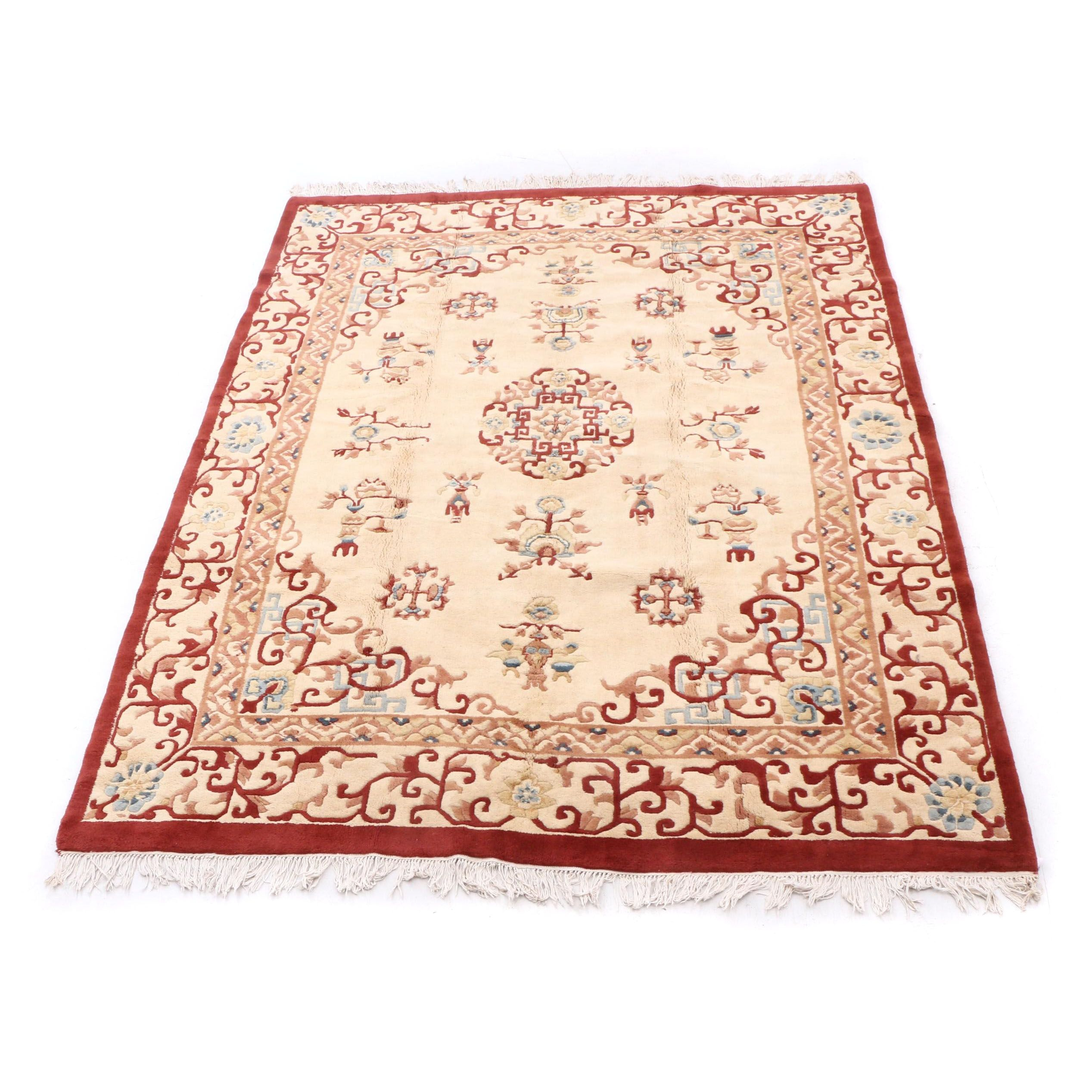 Hand-Knotted Indian Wool Room Sized Rug with Chinese Pattern