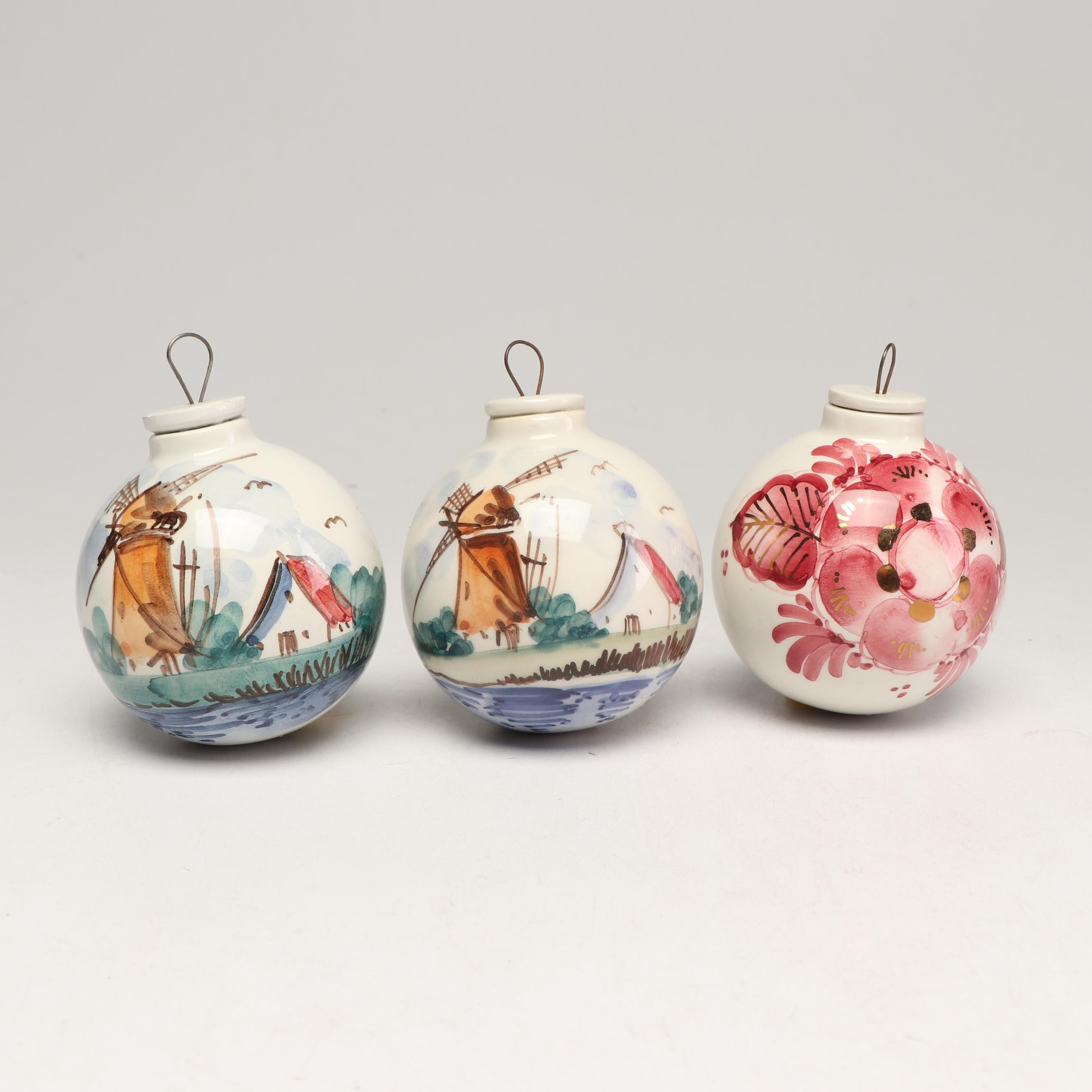 Delft Pottery Hand Painted Christmas Ornaments