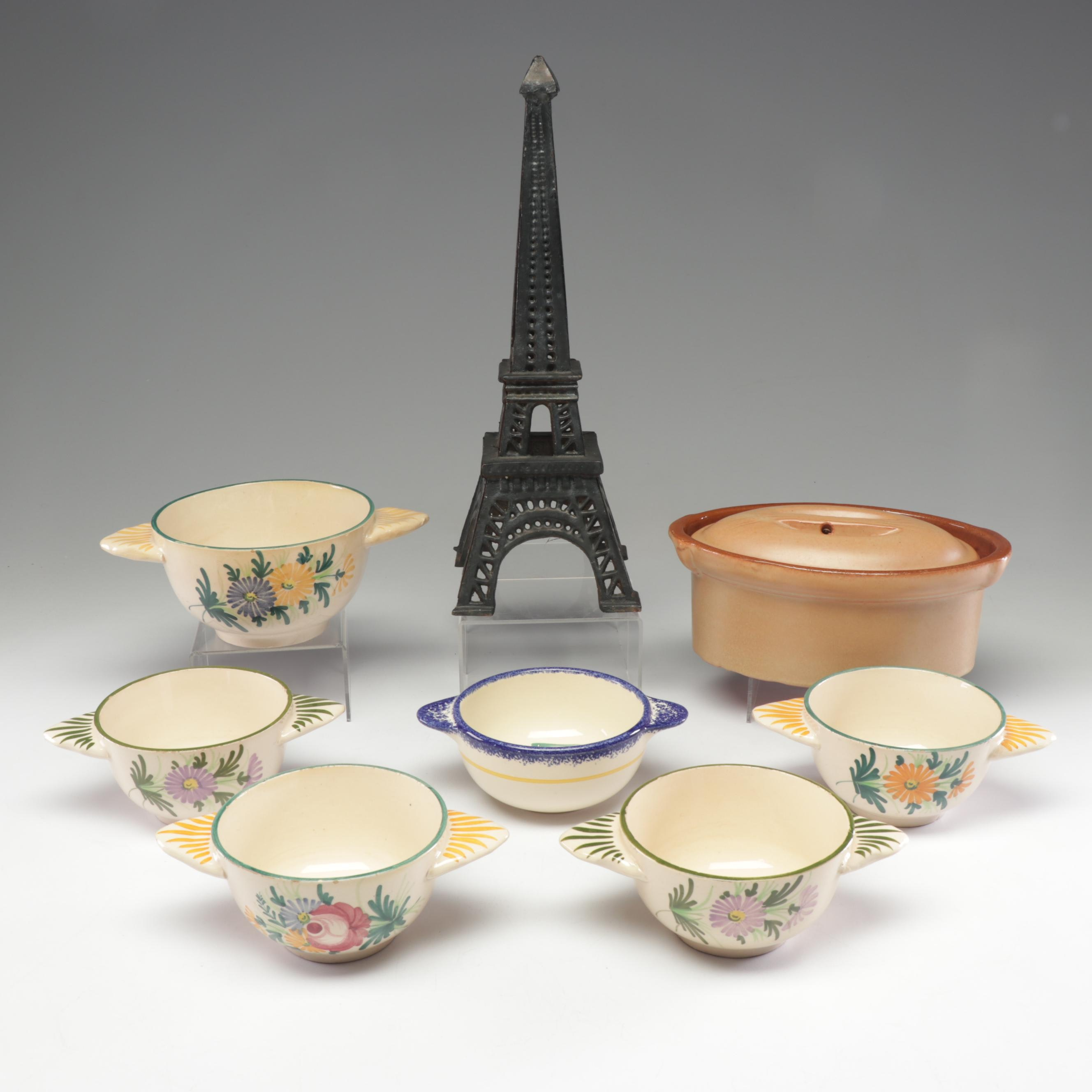 French Ceramic Bowls, Lidded Dish, and Iron Eiffel Tower