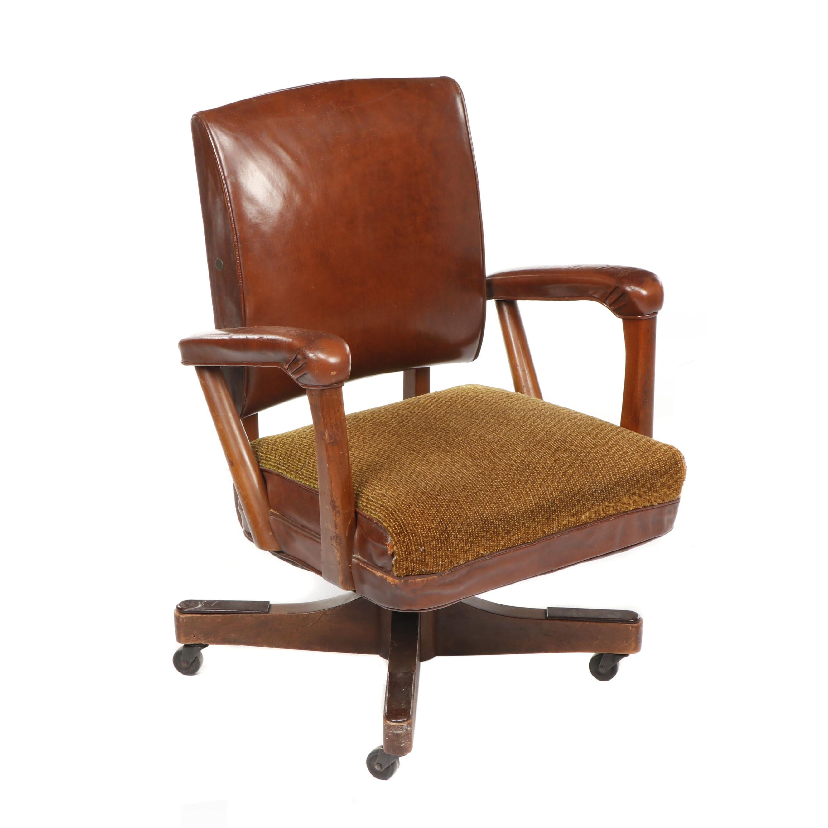 Mid Century Leather Upholstered Swivel Desk Chair