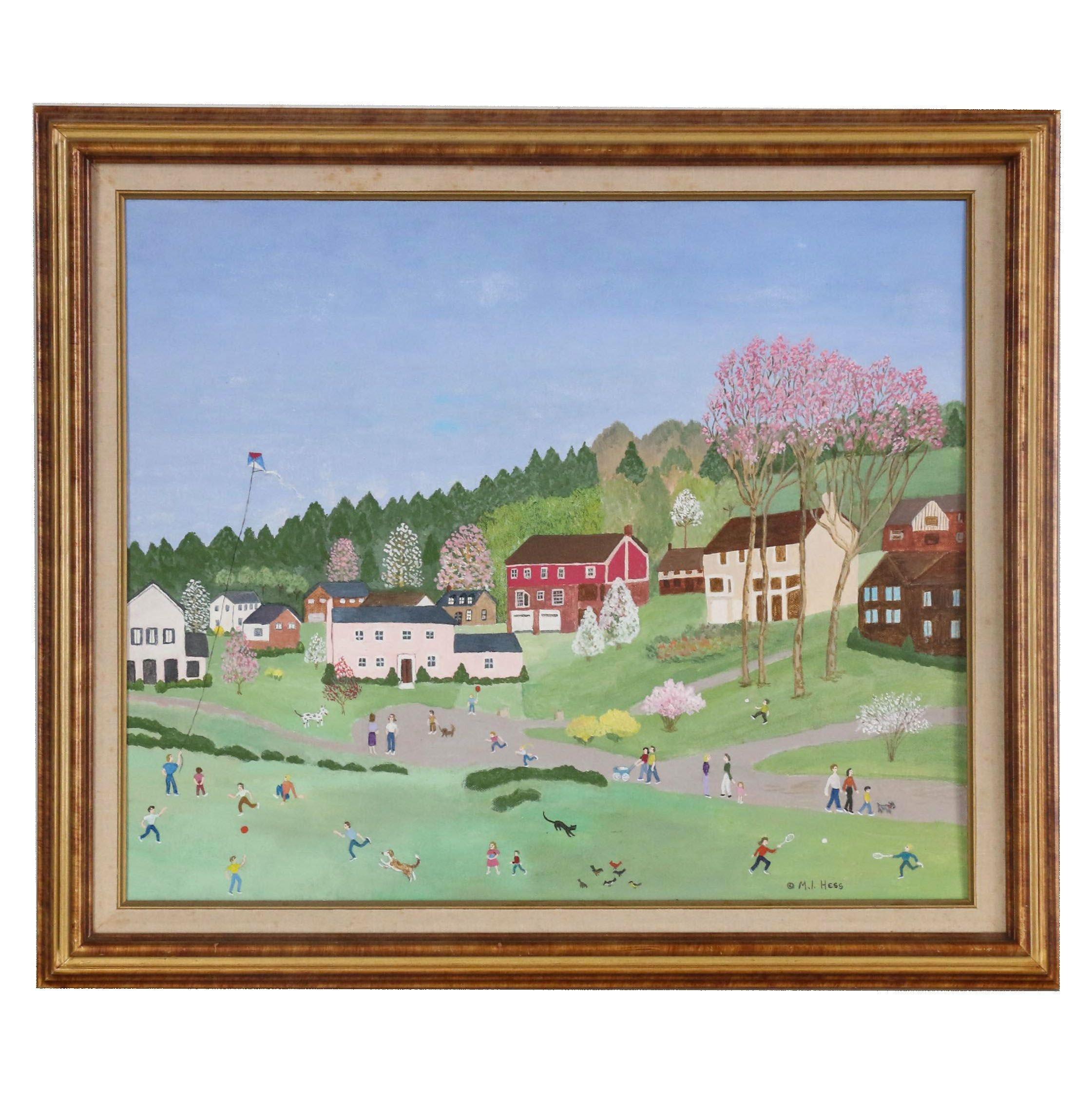 Inez Hess Folk Acrylic Painting of Townscape