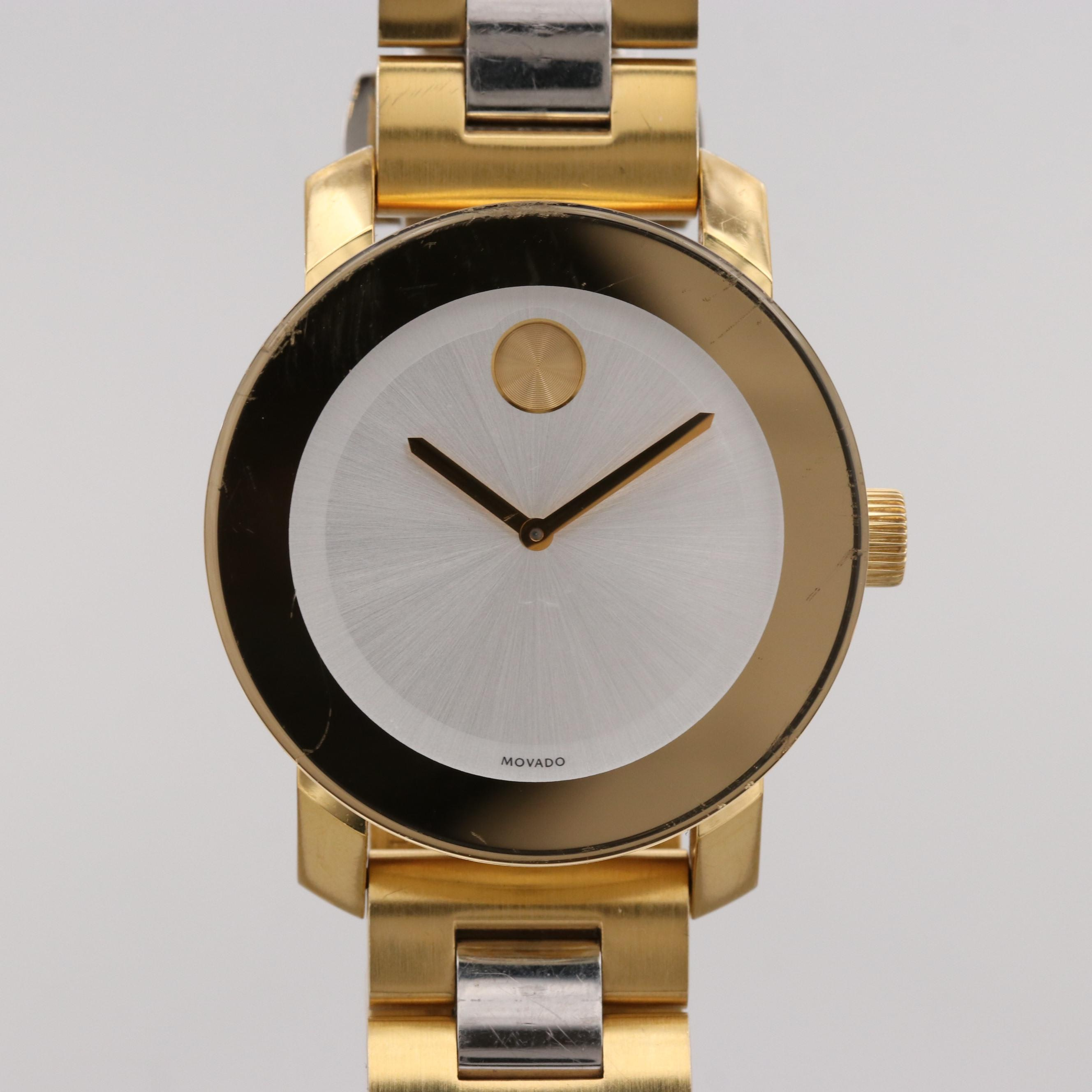 Movado Bold Two Tone Stainless Steel Quartz Wristwatch