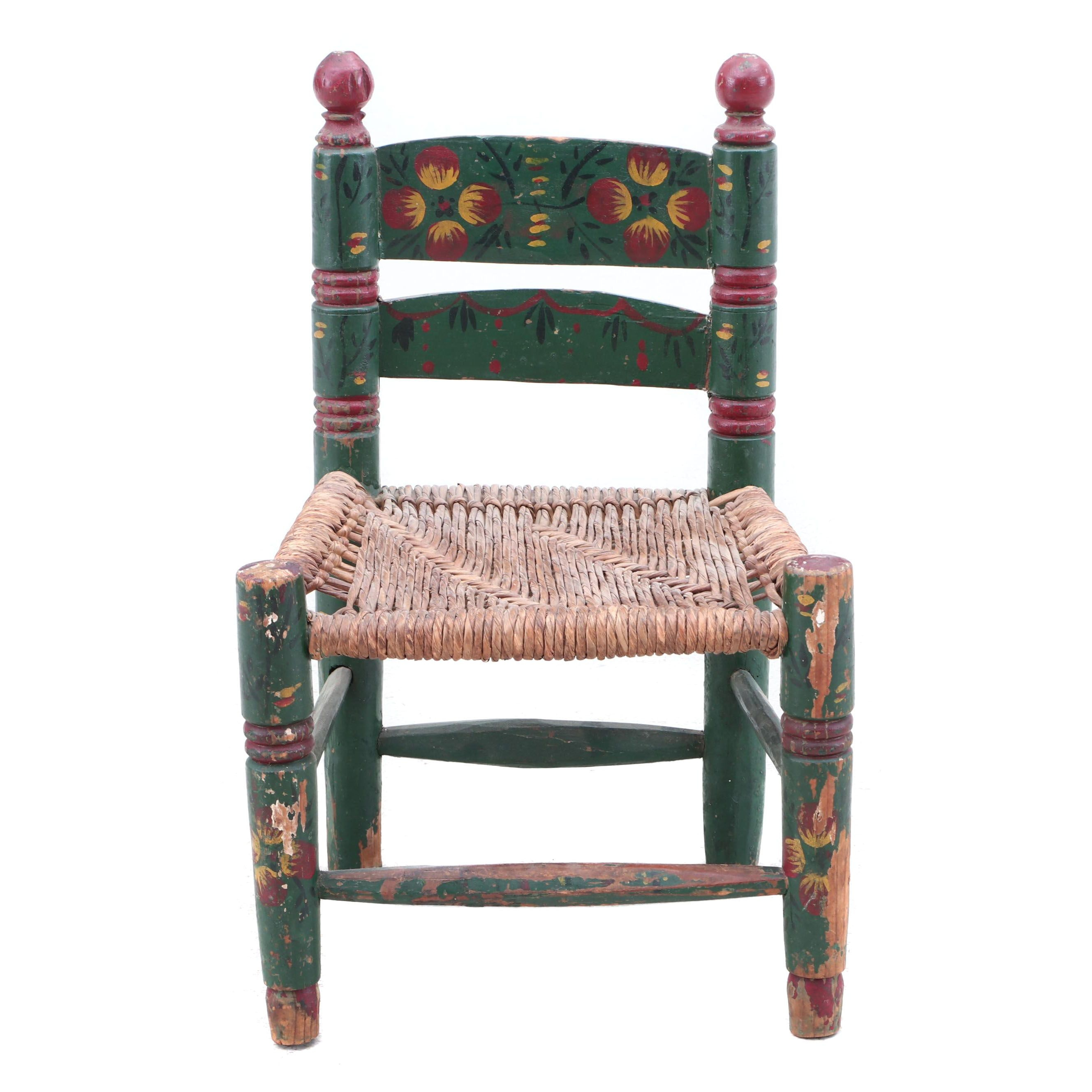 Hand Painted Wooden Child's Ladder Back Chair