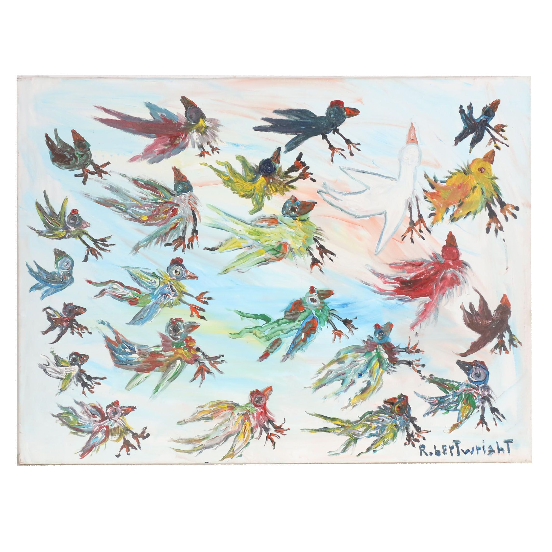 Robert Wright Folk Acrylic Painting of Stylized Birds