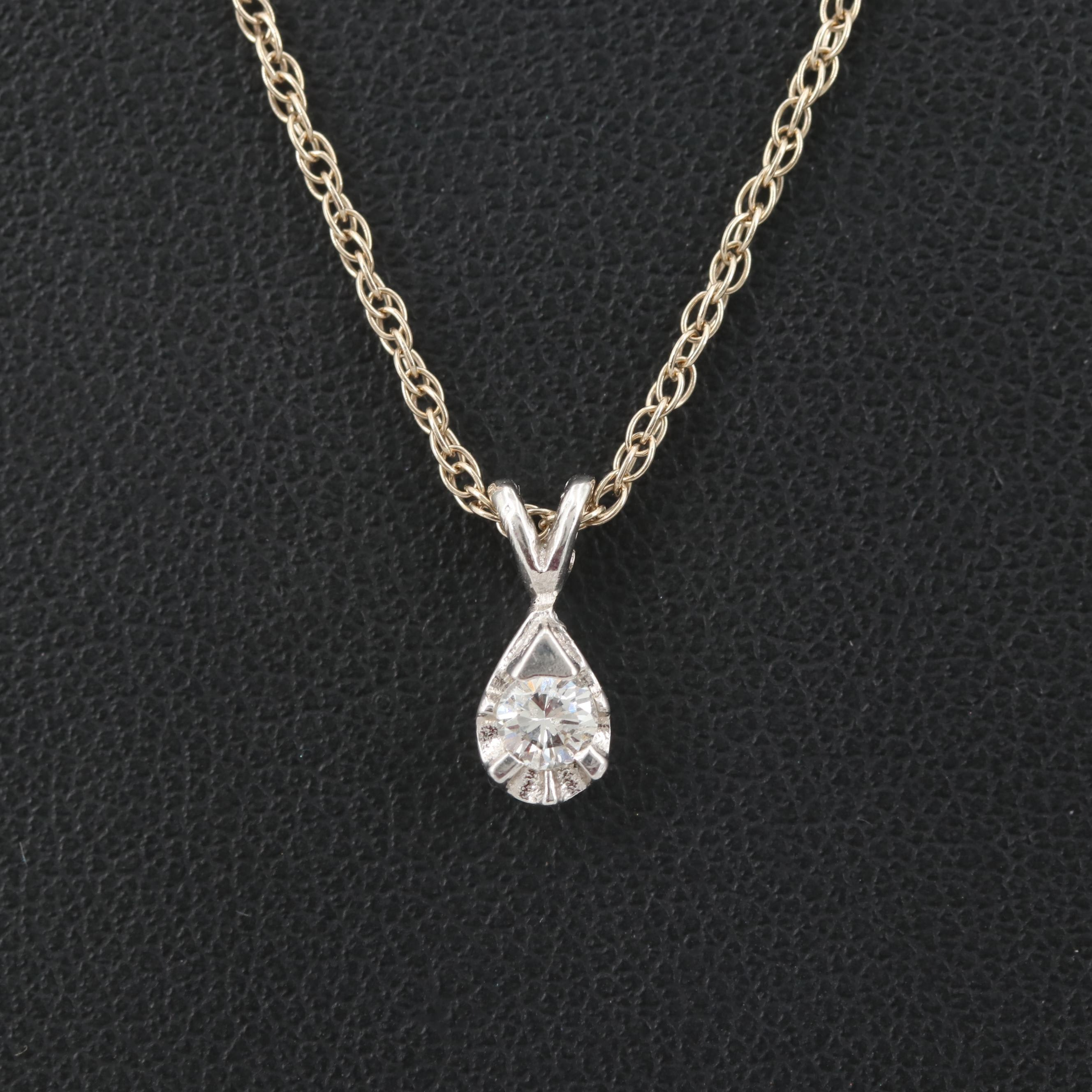 14K White Gold Solitaire Diamond Pendant Necklace