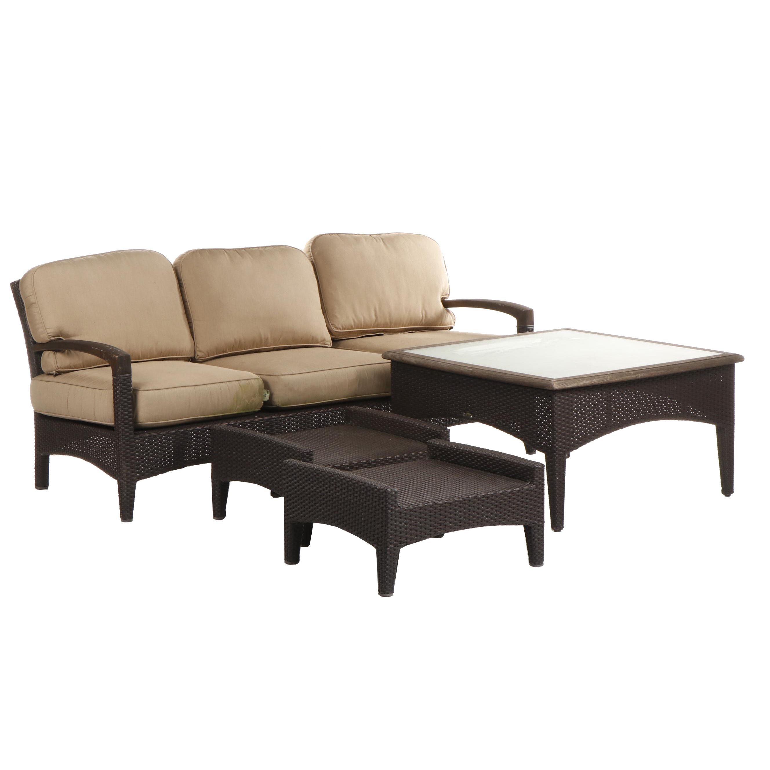 Patio Set Featuring Gloster Sofa and Coffee Table