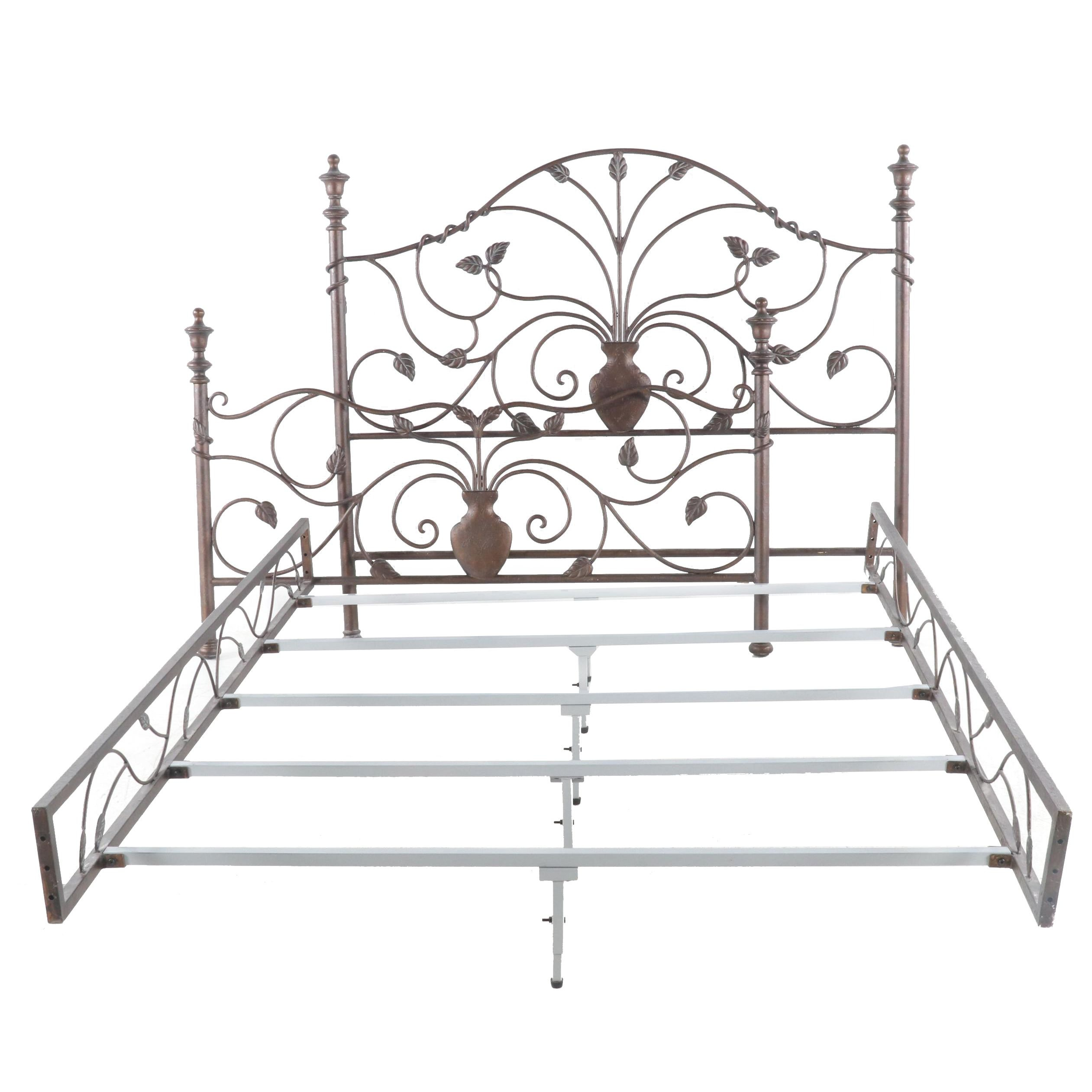 Contemporary Queen Size Metal Bed
