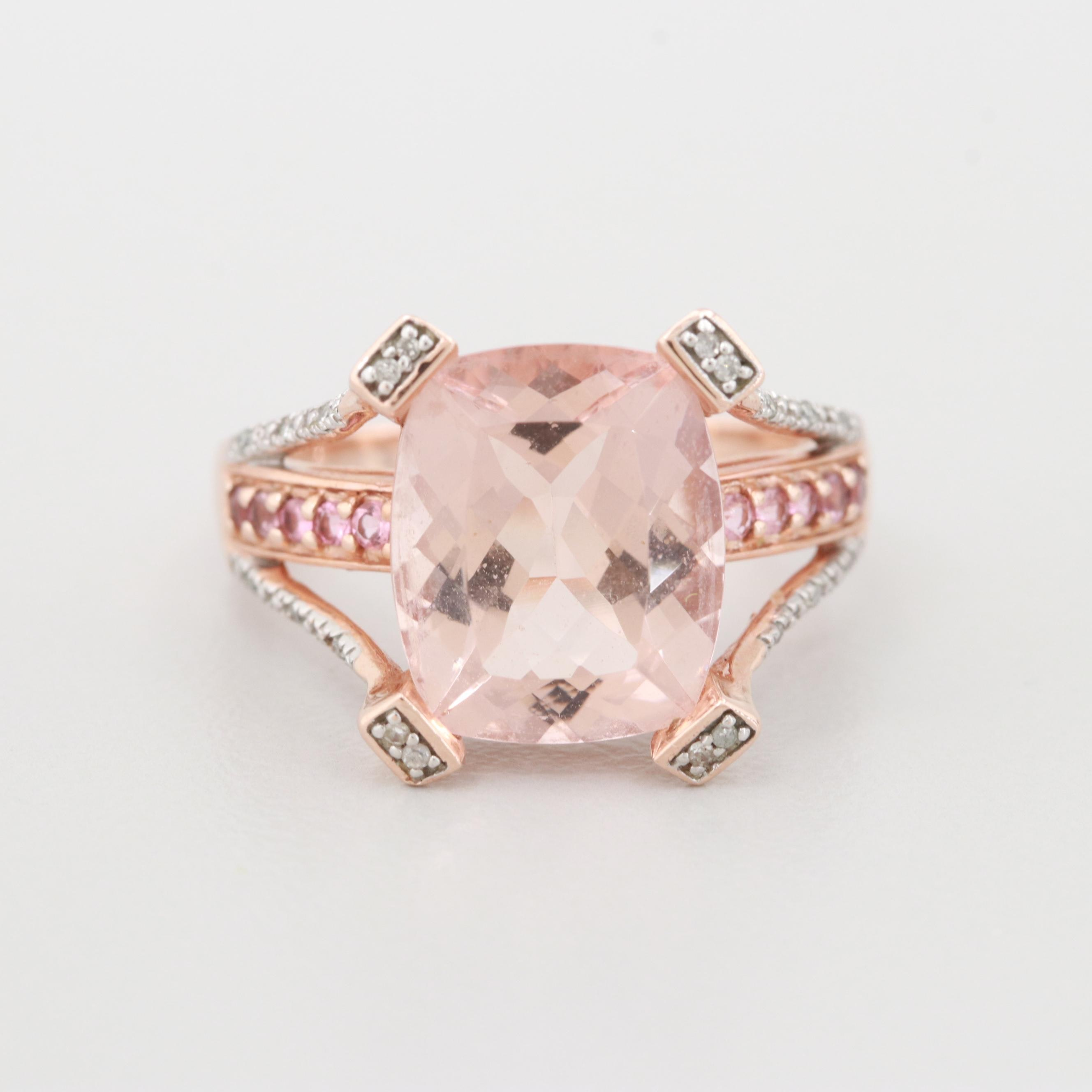 10K Rose Gold Morganite, Diamond and Pink Tourmaline Ring