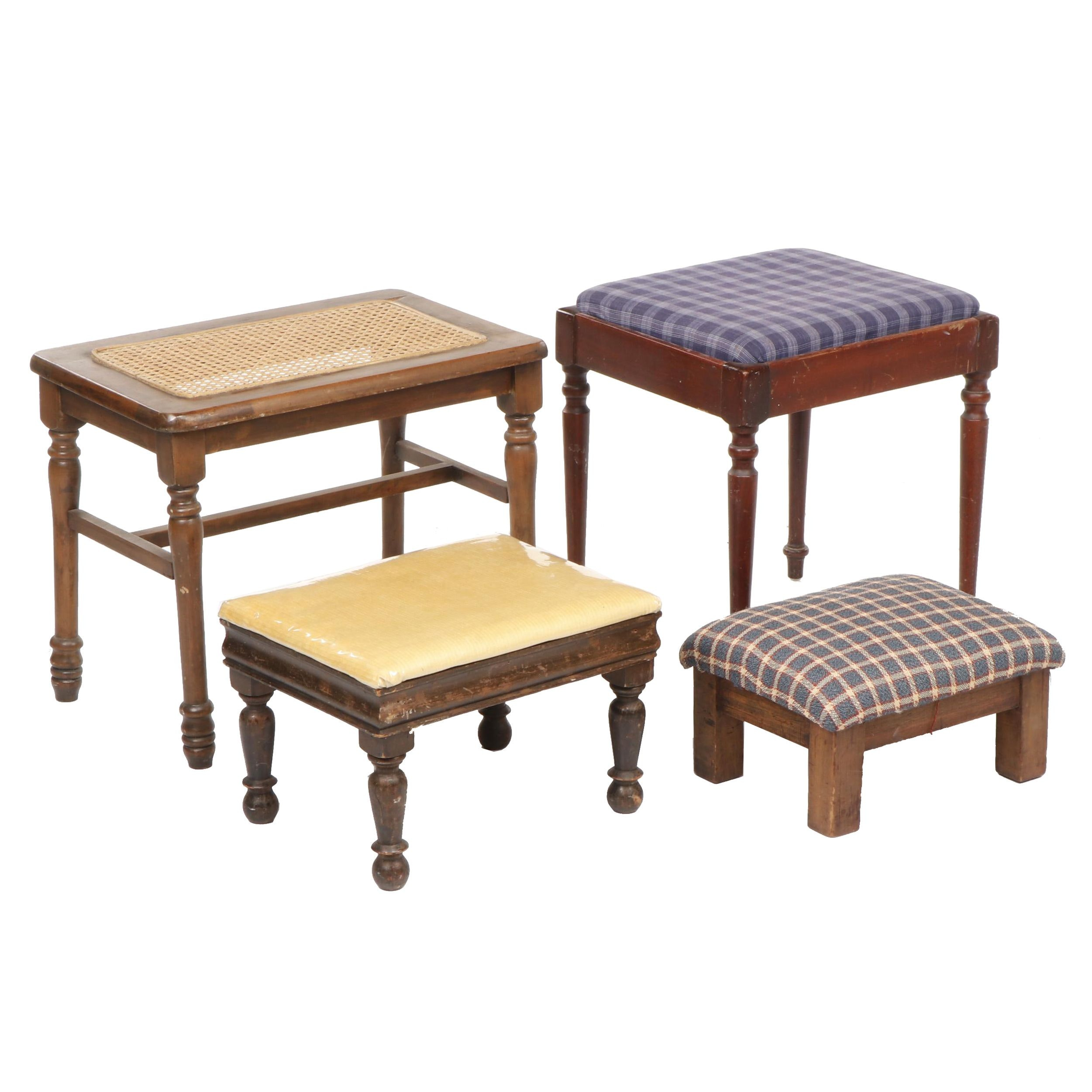 Wooden Upholstered Stools, Set of Four