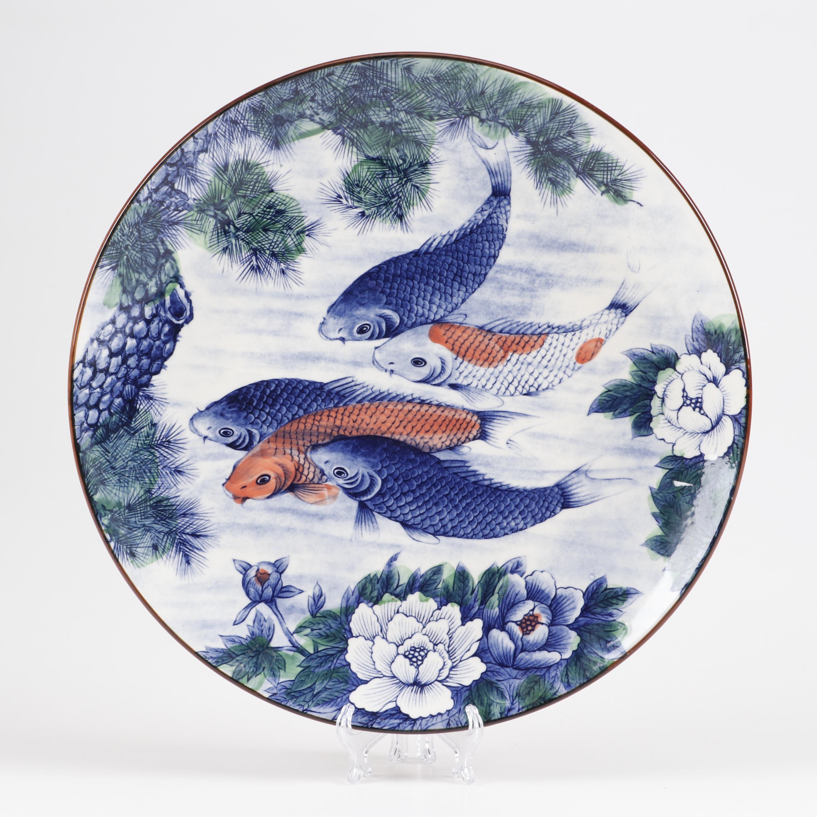 Japanese Hand-Embellished Transferware Ceramic Bowl Depicting Koi Fish