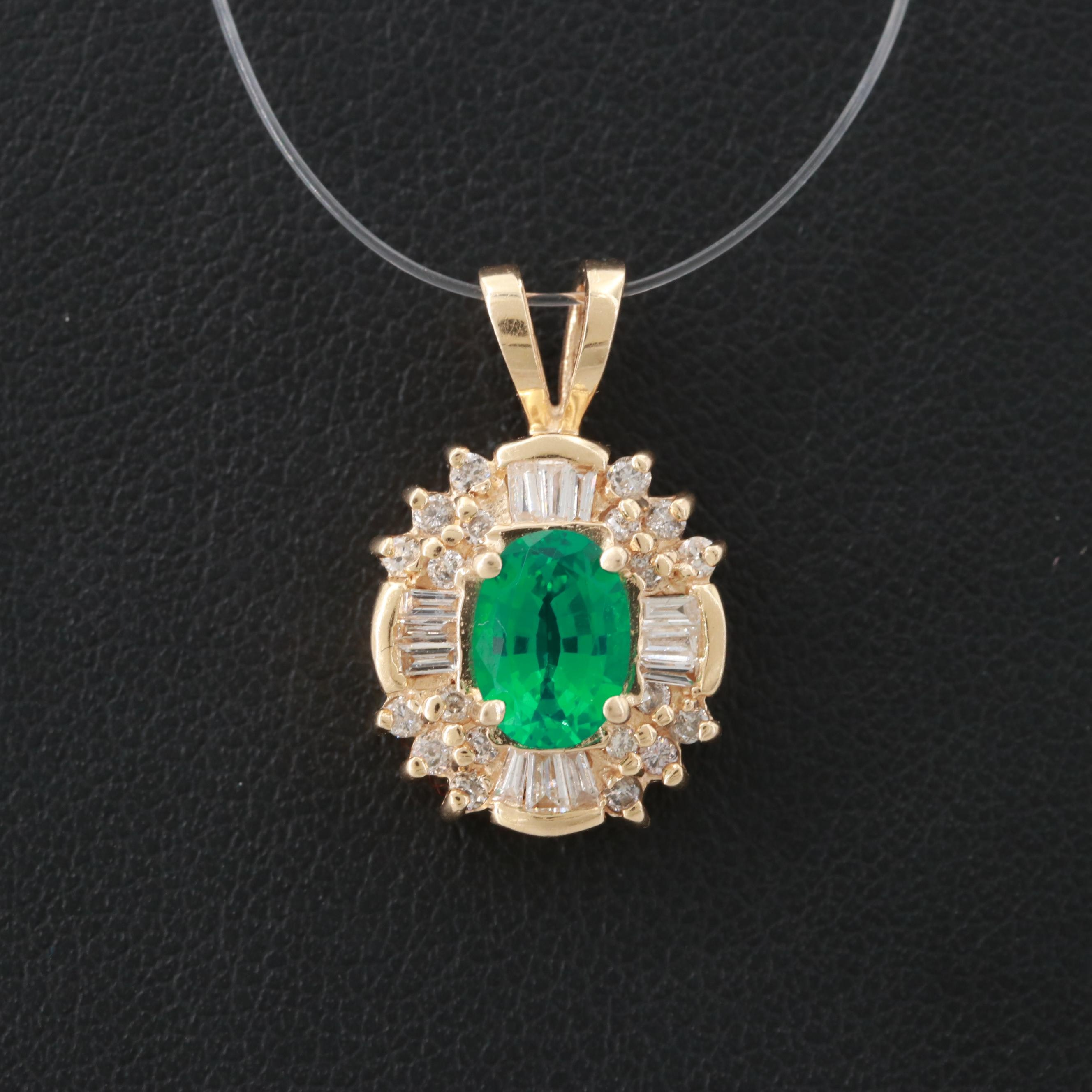 14K Yellow Gold Synthetic Emerald and Diamond Pendant