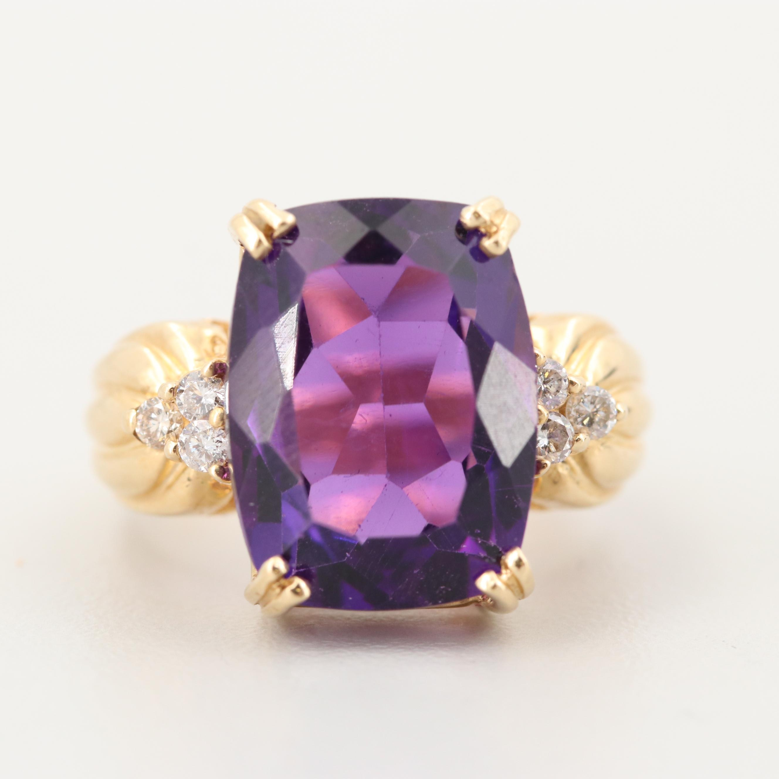 14K Yellow Gold Amethyst Ring with Diamond Accents