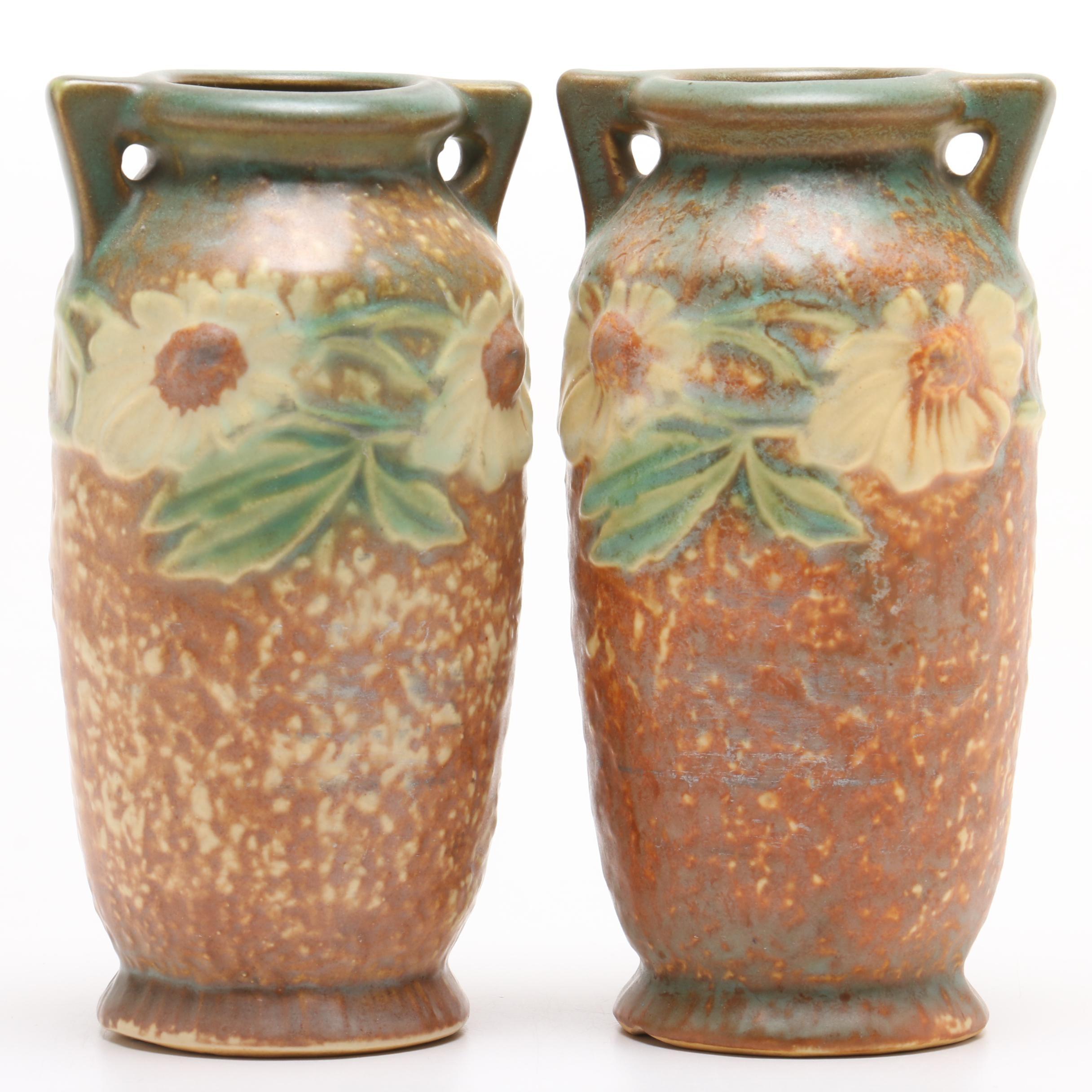 """Roseville Pottery """"Dahlrose"""" Vases, 1920s"""