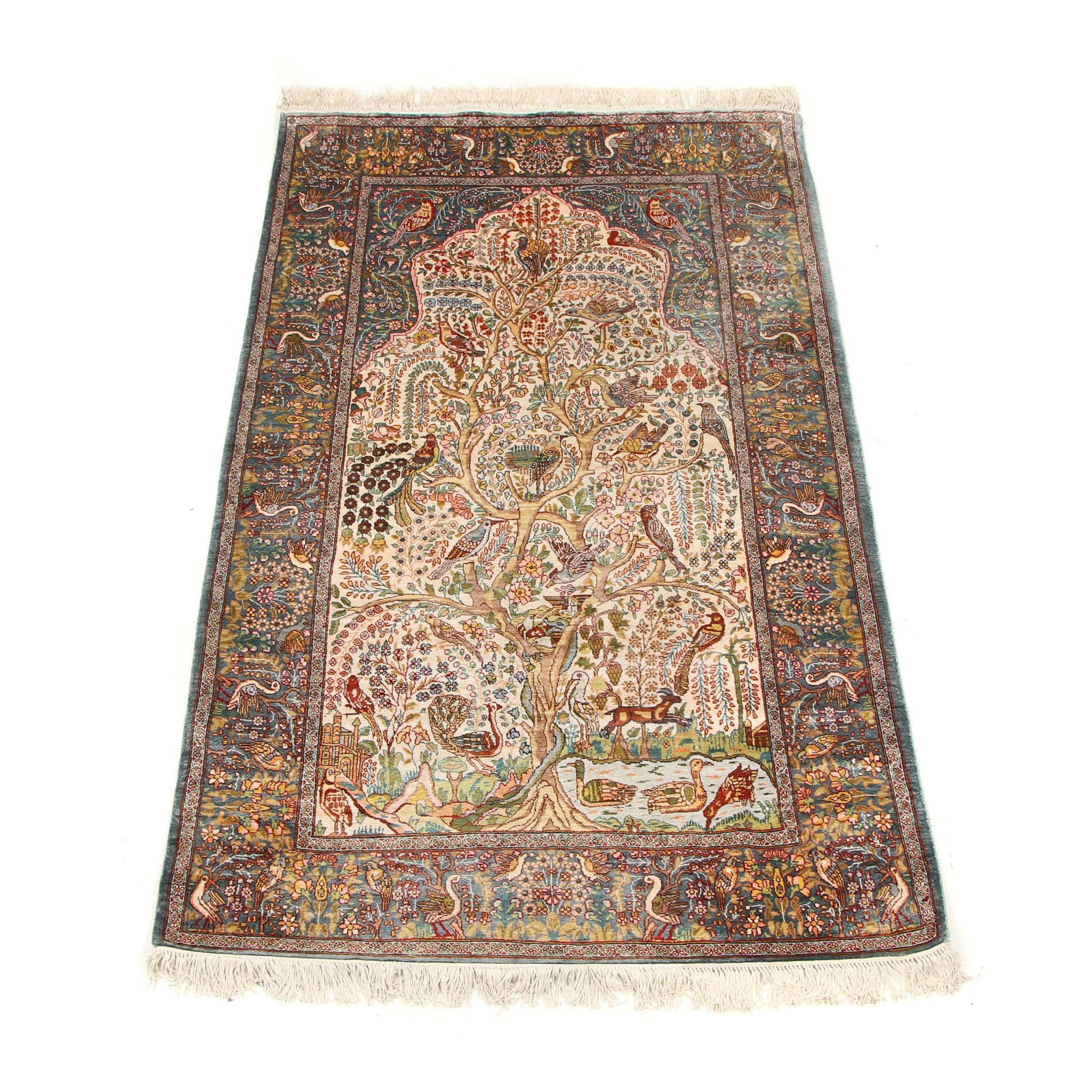 Hand-Knotted Indo-Persian Kerman Silk Prayer Rug