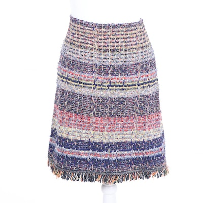 2bfd29bef36 Christian Dior Boutique Paris Cotton and Leather Trumpet Style Skirt ...
