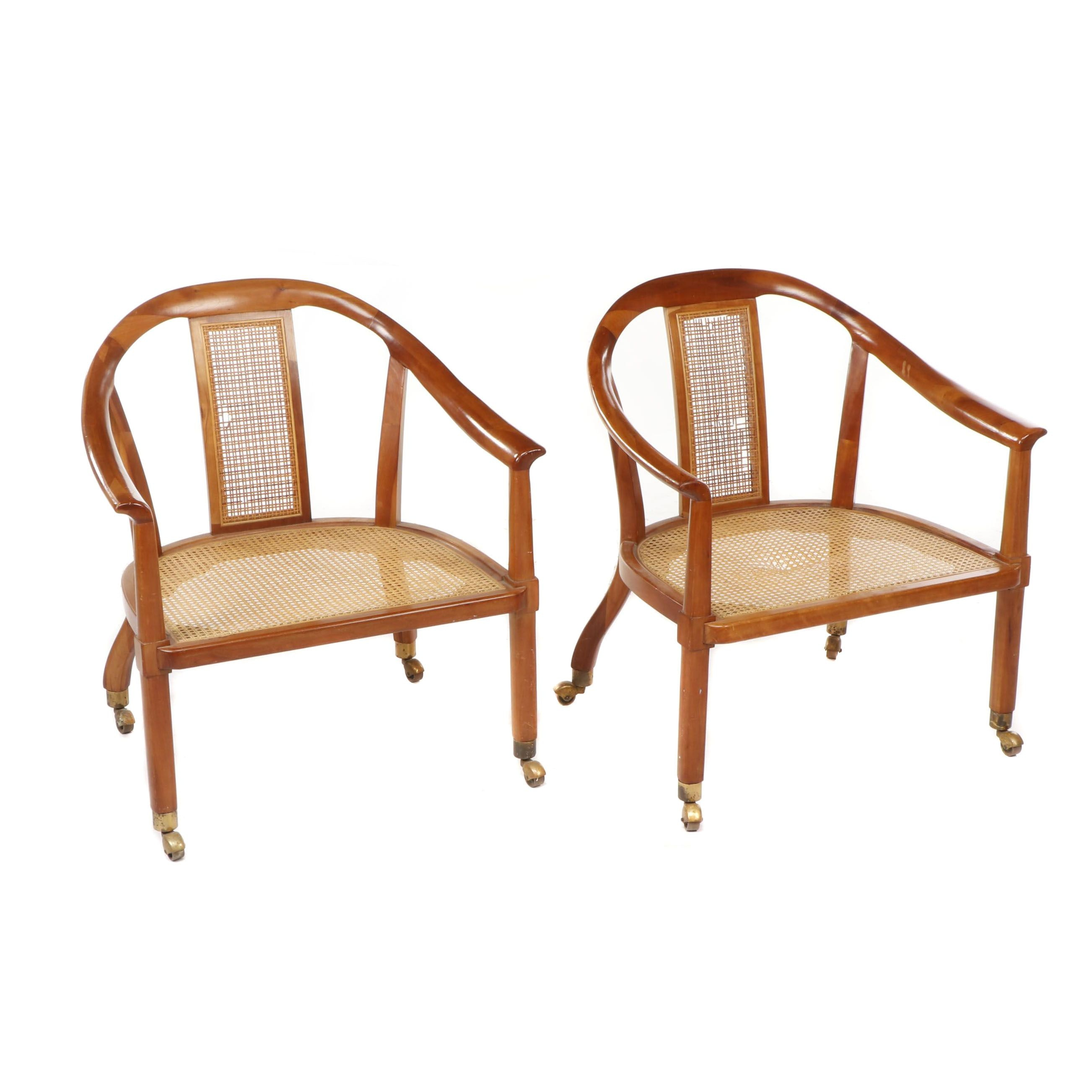 Wood and Cane Horseshoe Pull-Up Chairs on Casters, Mid 20th Century