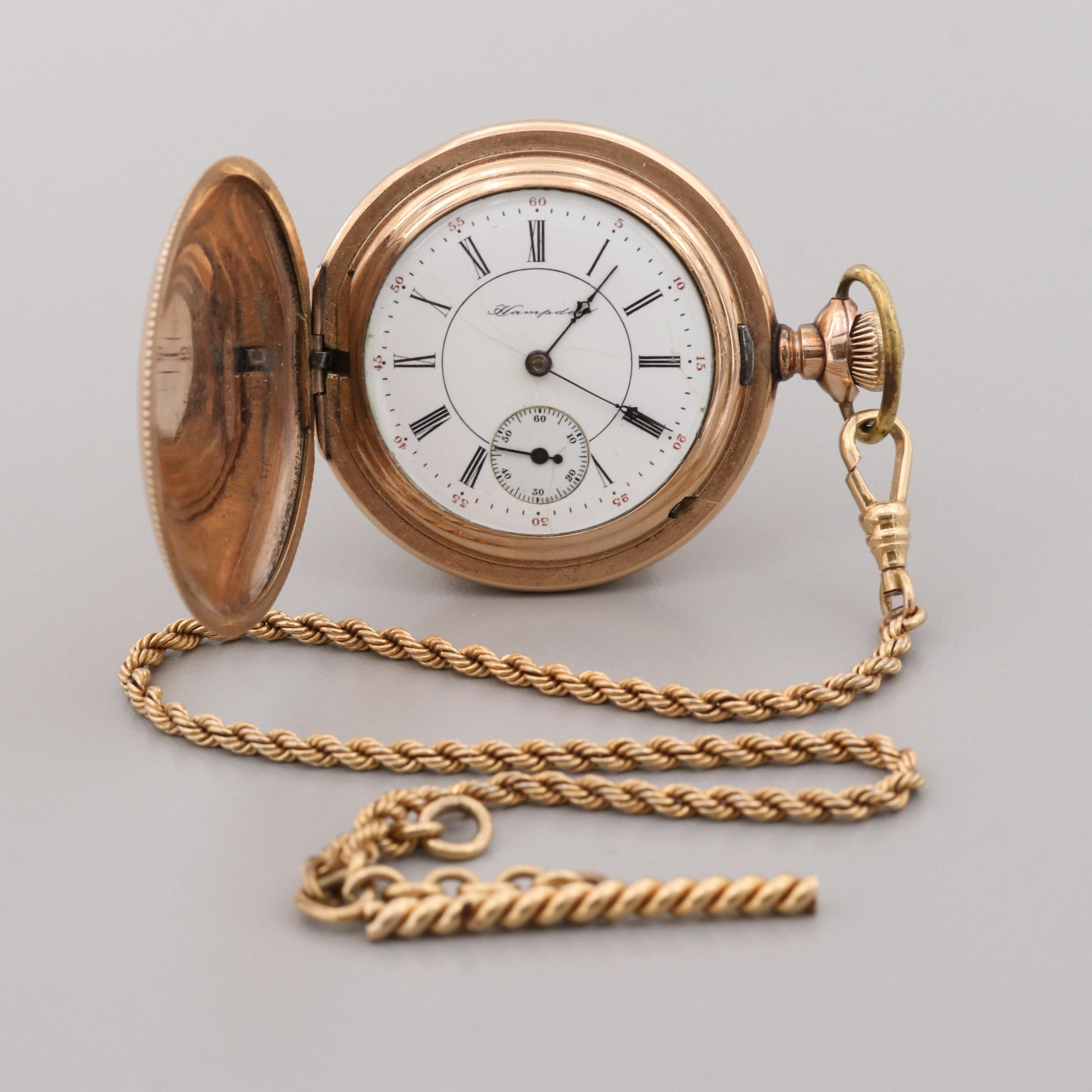 Hampden Gold Filled Pocket Watch and Fob Chain, 1901