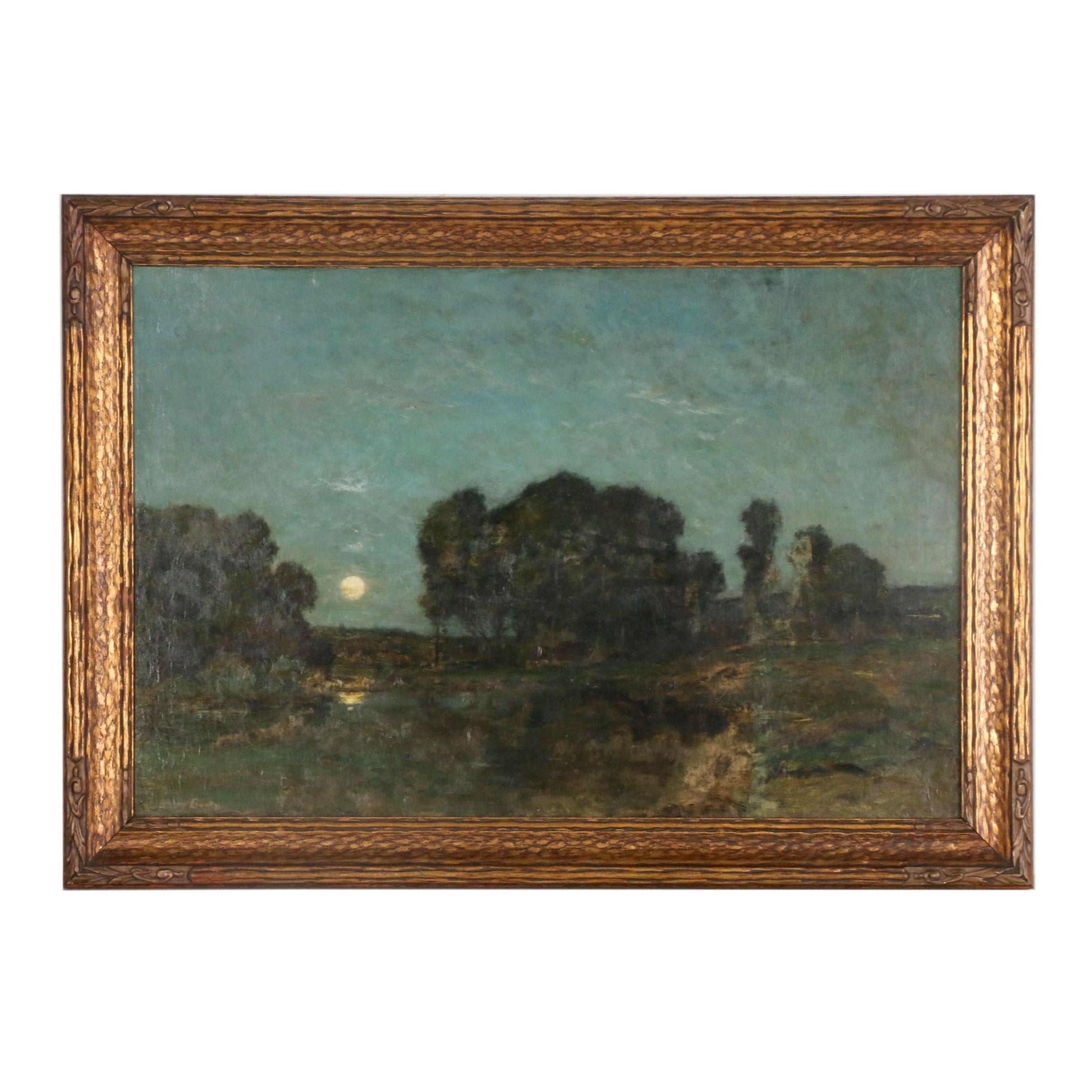 1870 Tonalist Oil Painting of Nocturnal Landscape