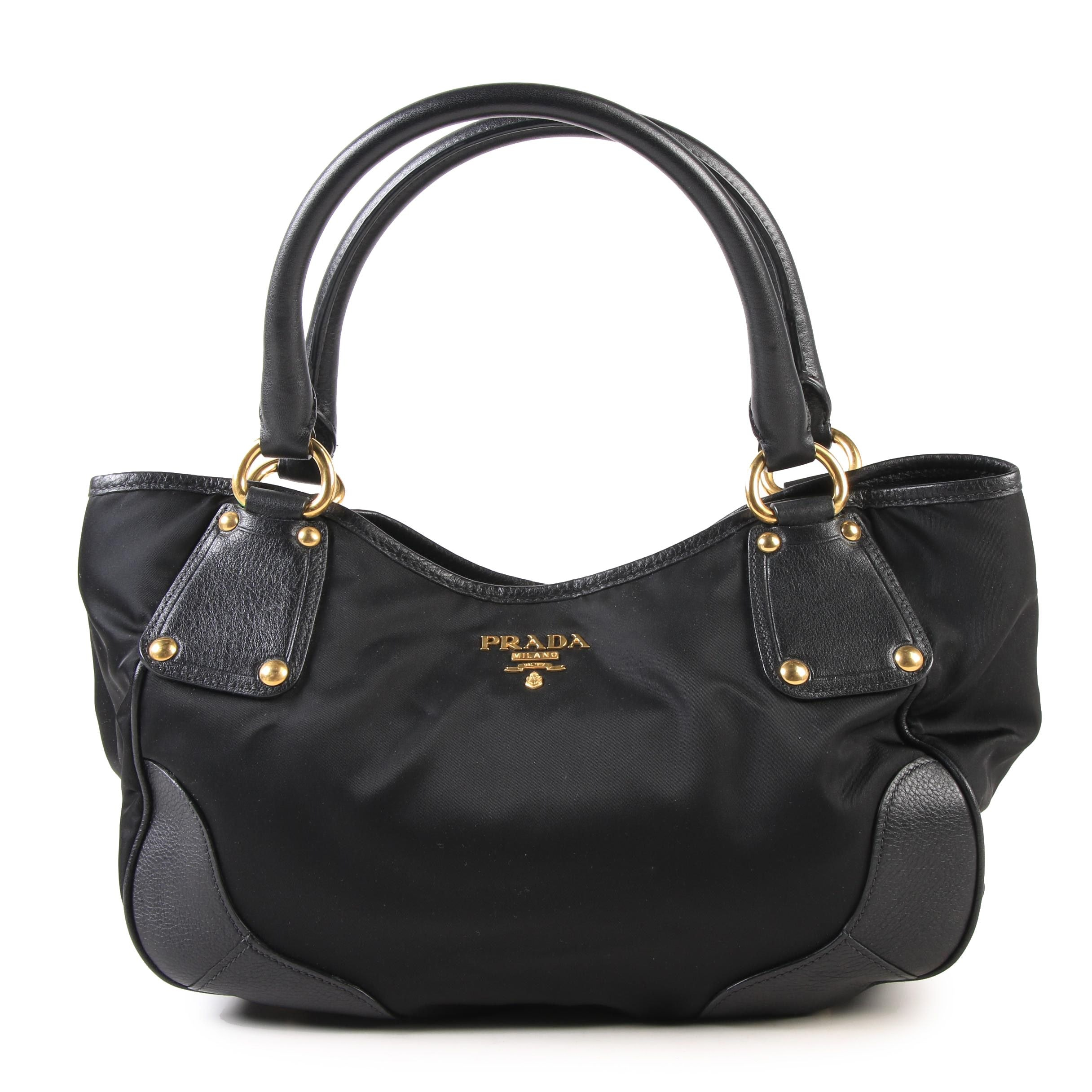 Prada Milano Black Nylon and Leather Shoulder Bag