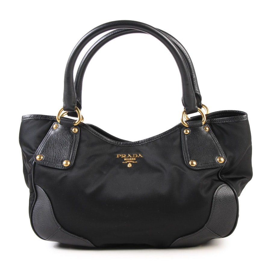179bb5ba451d Prada Milano Black Nylon and Leather Shoulder Bag   EBTH