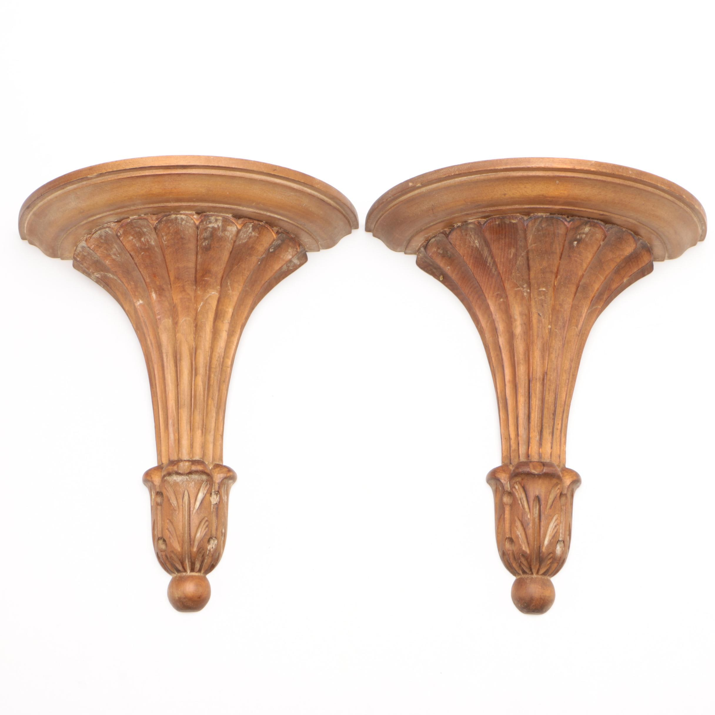 Pair of Italian Neoclassical Carved Wood Sconces, Mid-Century