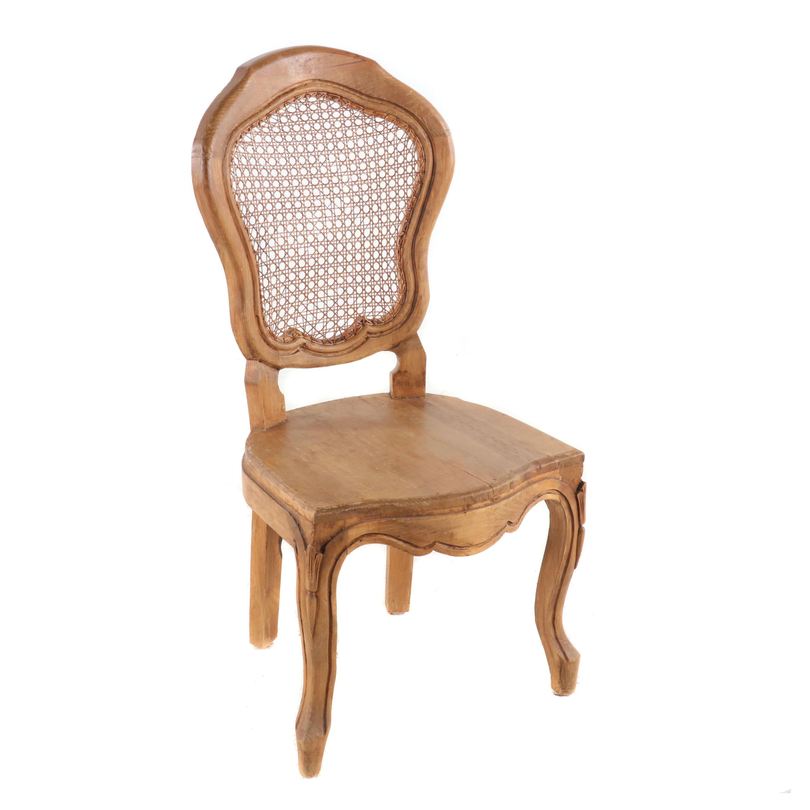Carved Provincial Louis XV Style Mexican Pine Chair, Mid 20th Century